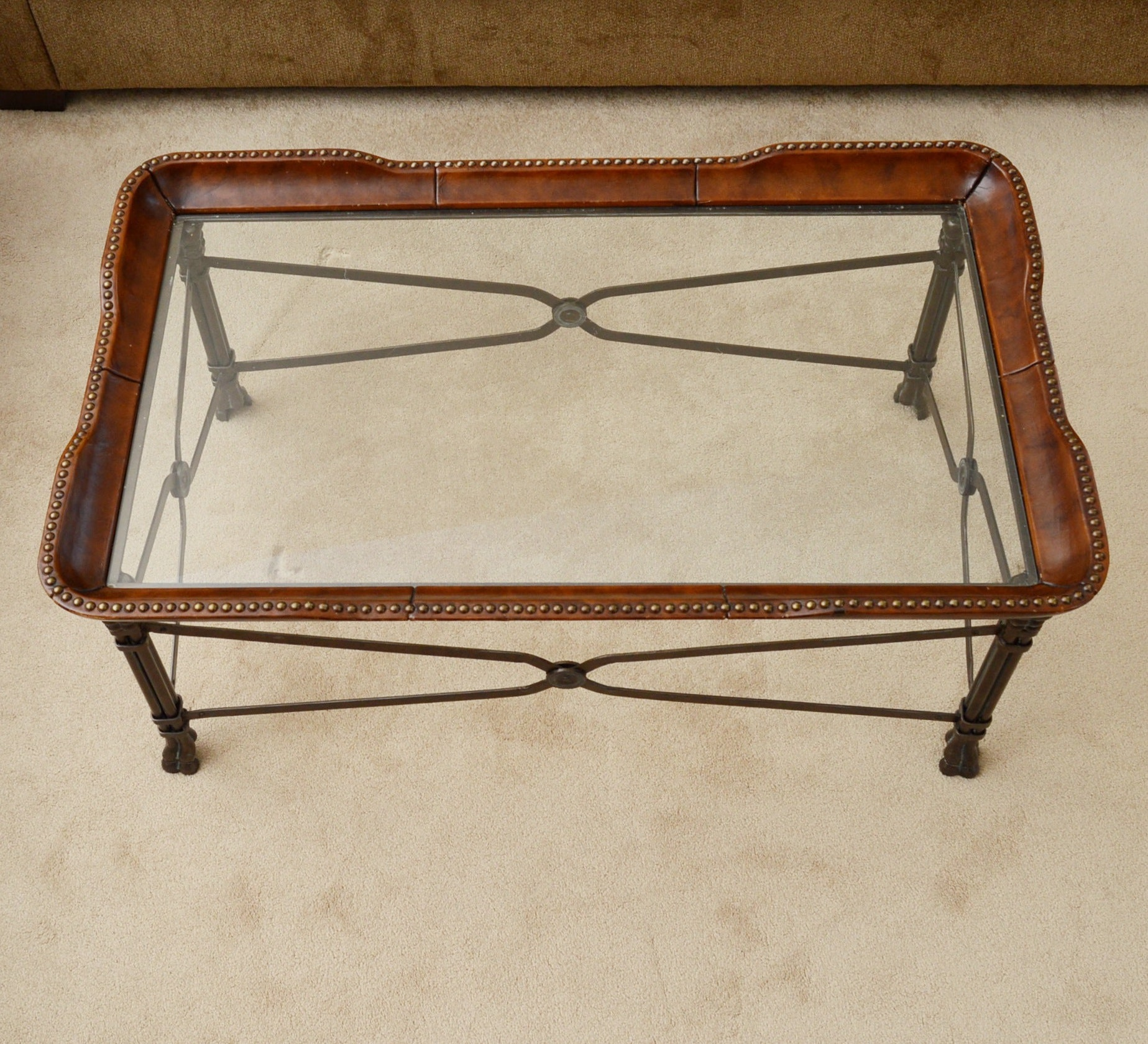 Leather and Glass Top Coffee Table