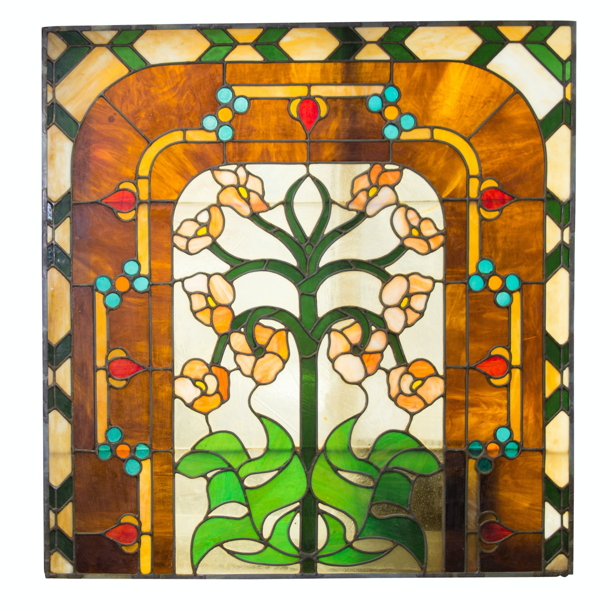 Large Floral Themed Stained Glass Panel