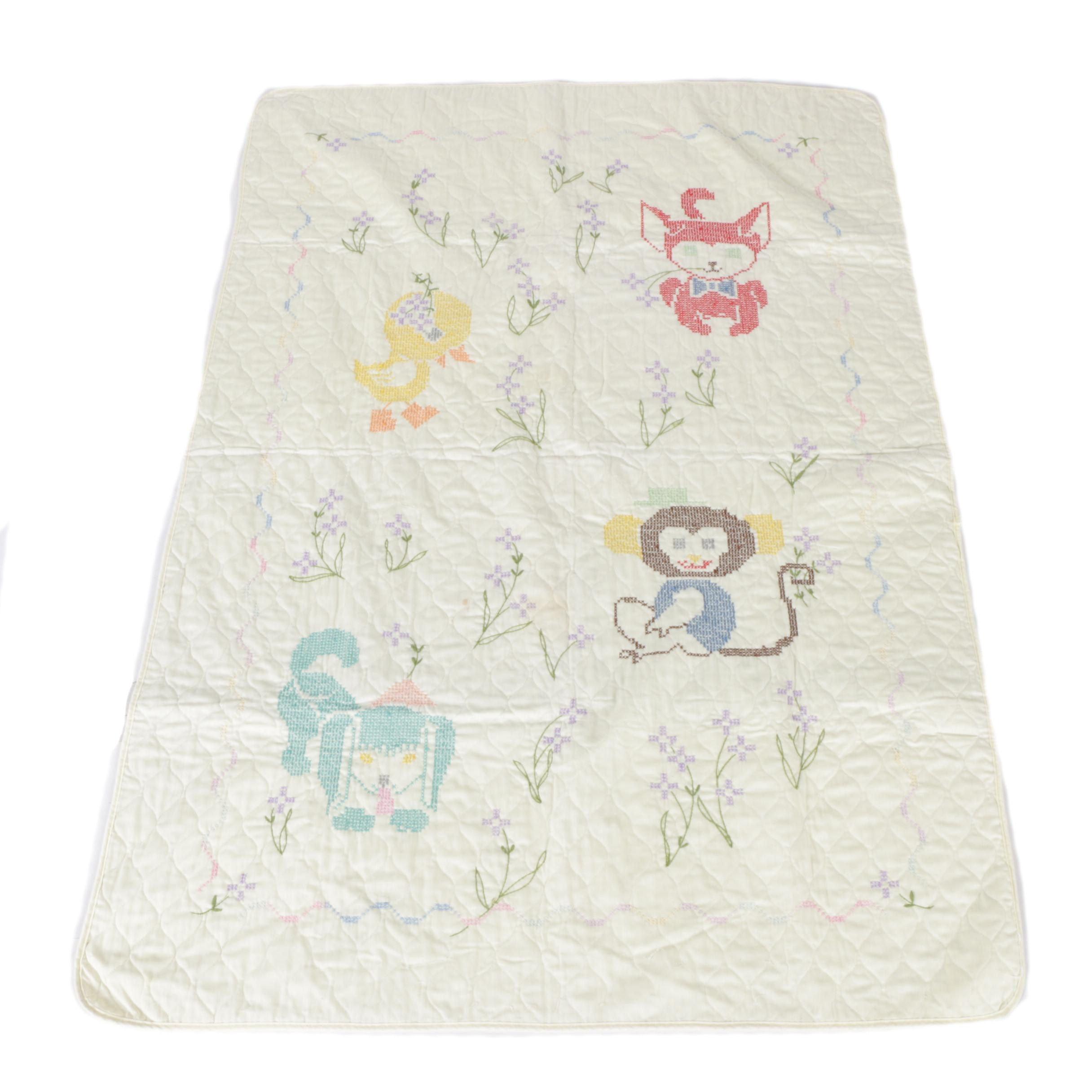 Vintage Cross Stitch Baby Quilt