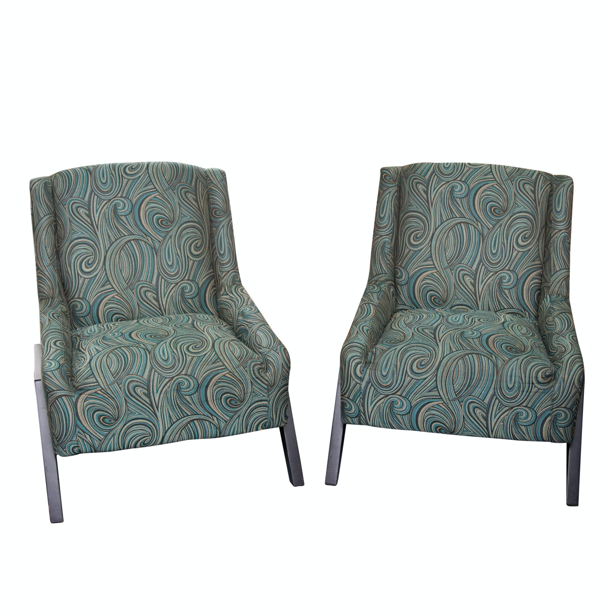 Two Modern Upholstered Armchairs
