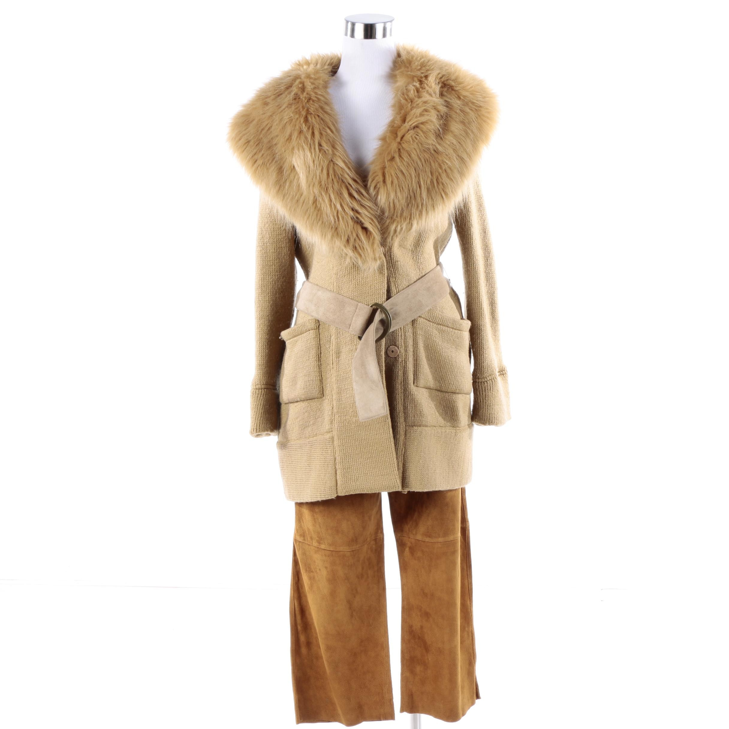 Express Suede Leather Pants and Luxe by Irina Cardigan with Faux Fur Collar