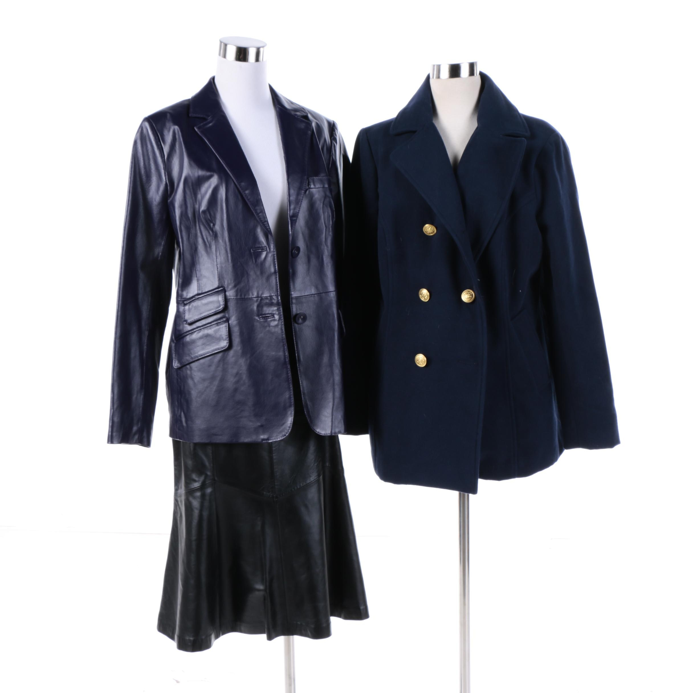 Women's Peacoat, Leather Jacket and Skirt Including Joan Rivers