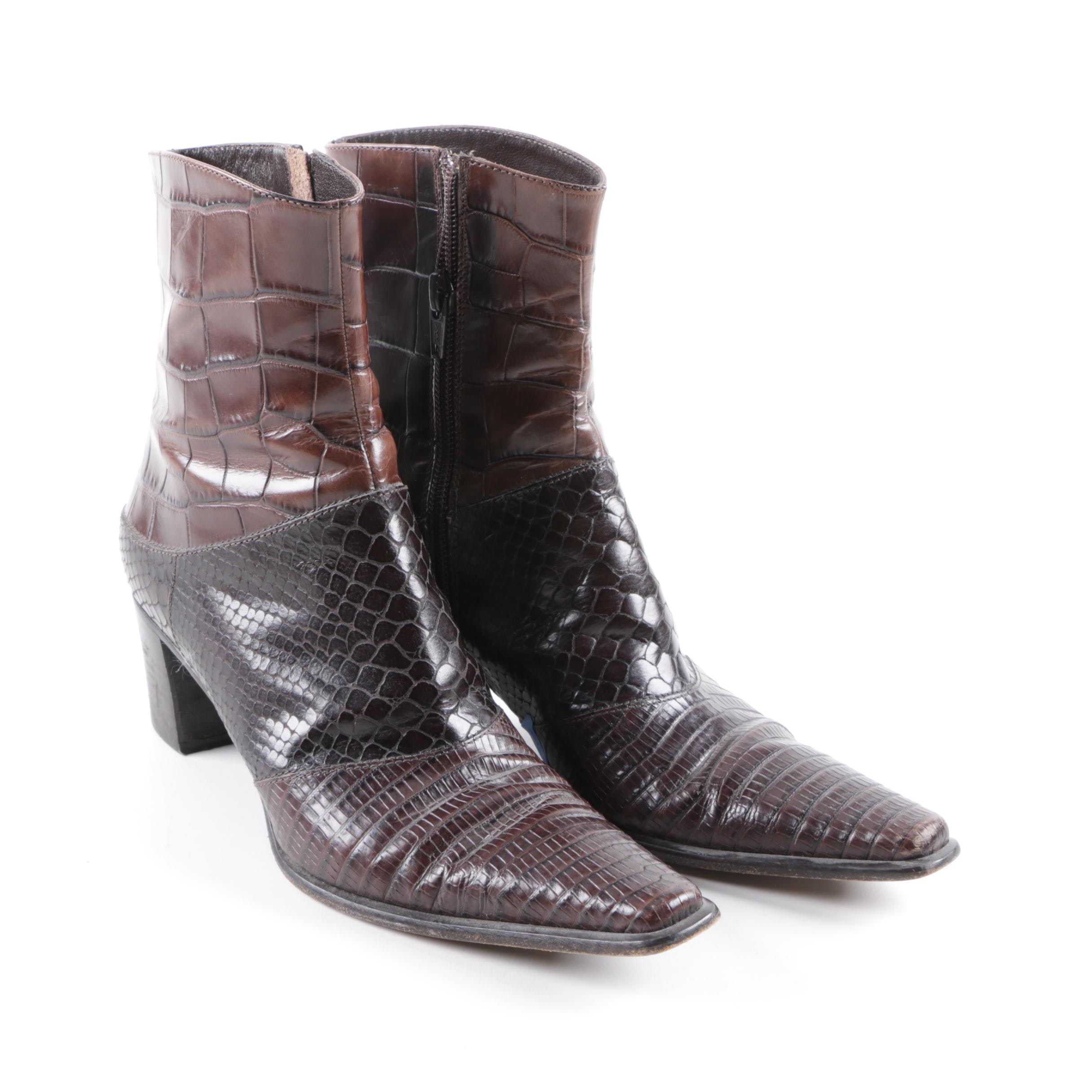 Via Spiga Embossed Leather Ankle Boots
