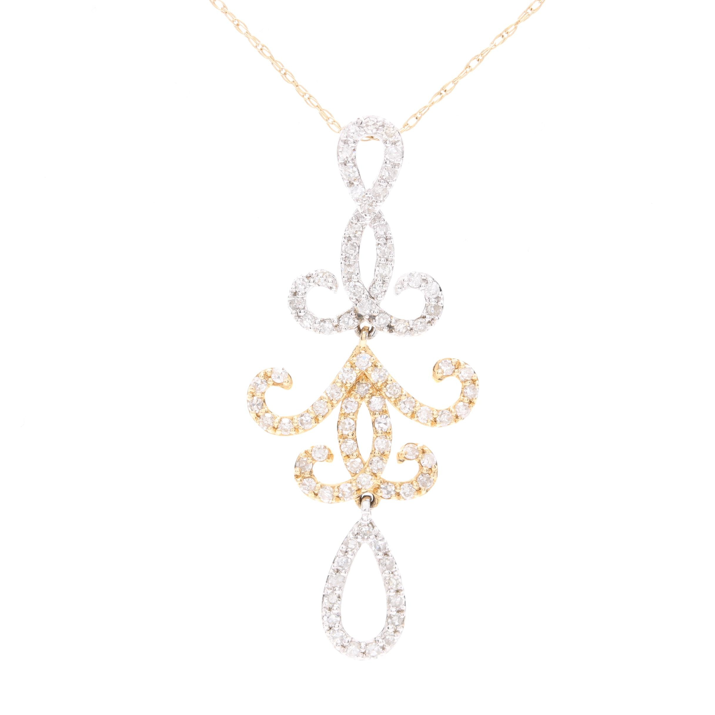 14K Yellow Gold Diamond Pendant With White Gold Accents