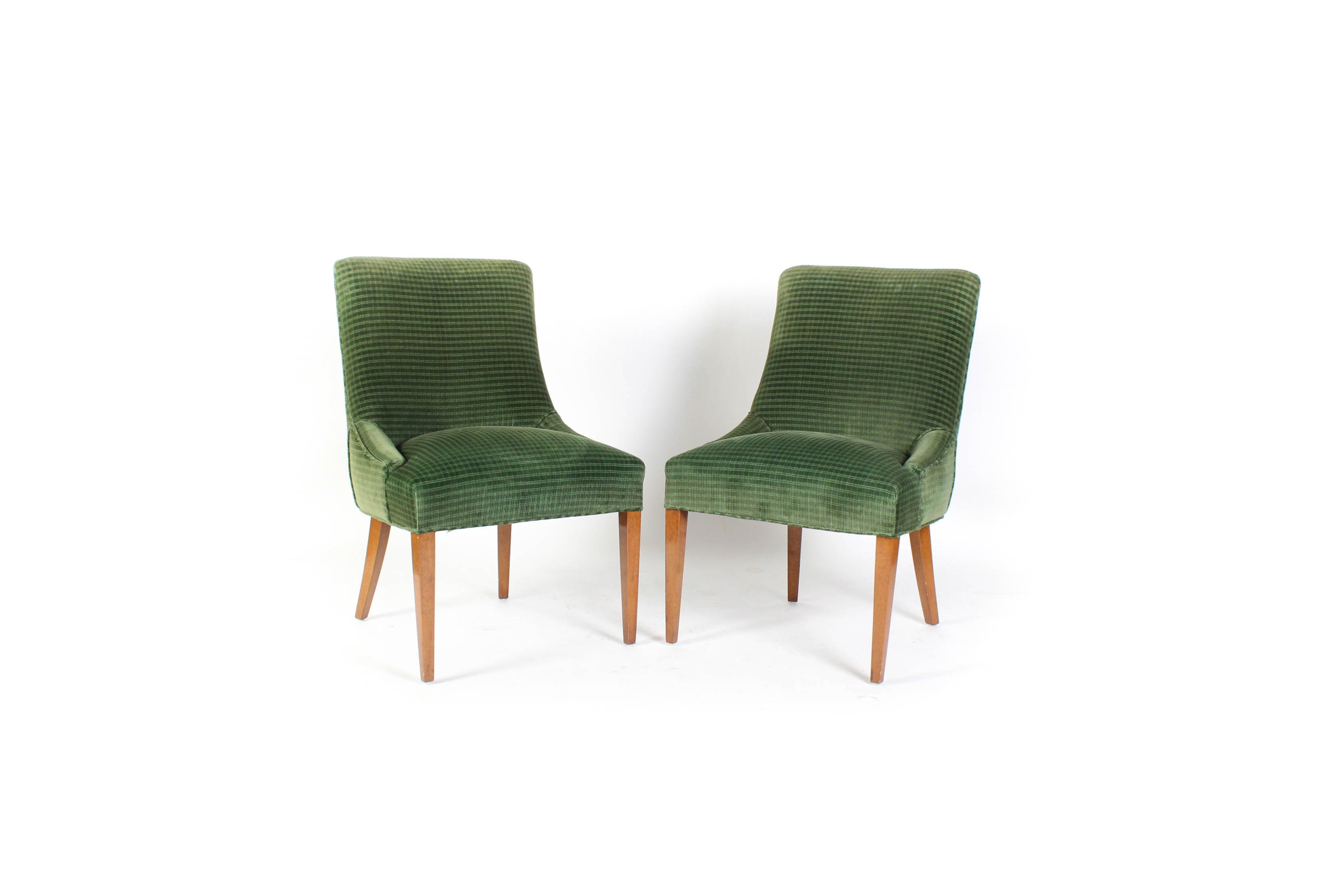 Pair of Green Upholstered Side Chairs