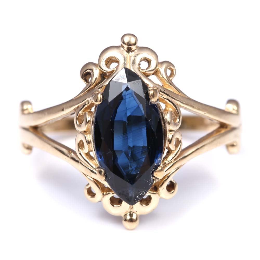 14K Yellow Gold 1.06 CT Sapphire Ring