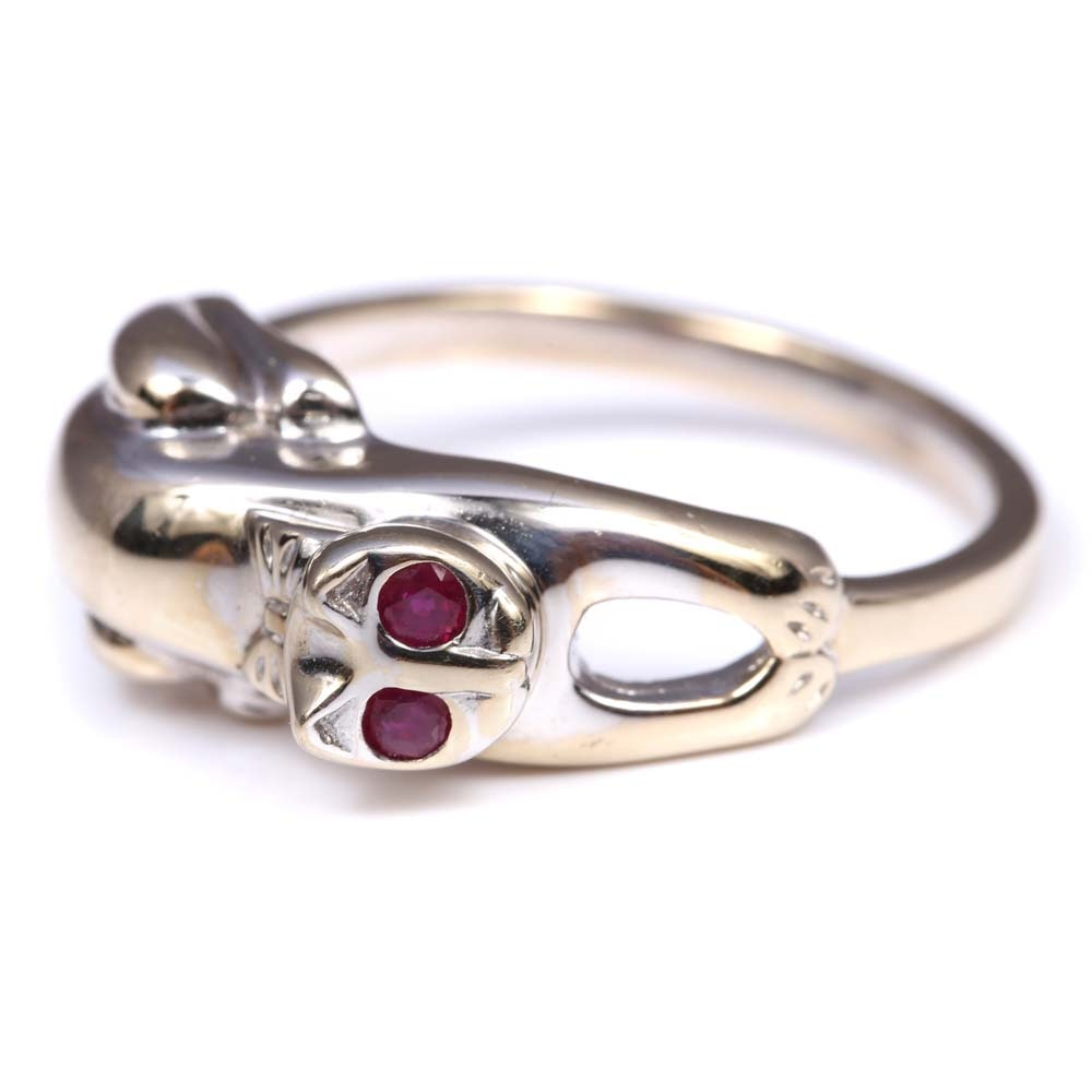 14K White Gold and Yellow Gold Ruby Cat Ring