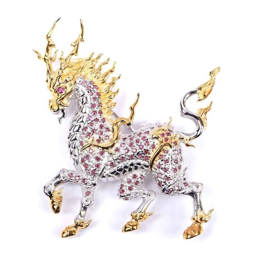 Sterling Silver Ruby and Garnet Dragon Brooch