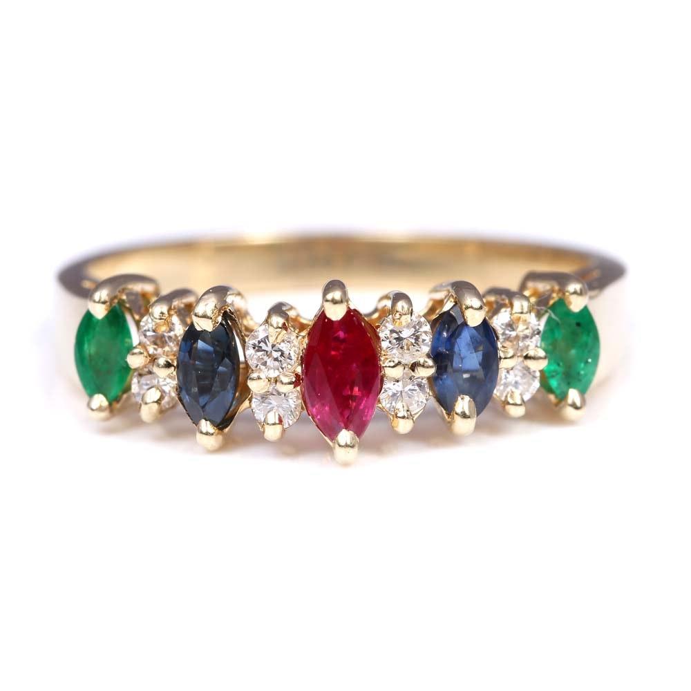 14K Yellow Gold Emerald, Ruby, Sapphire, Diamond Ring