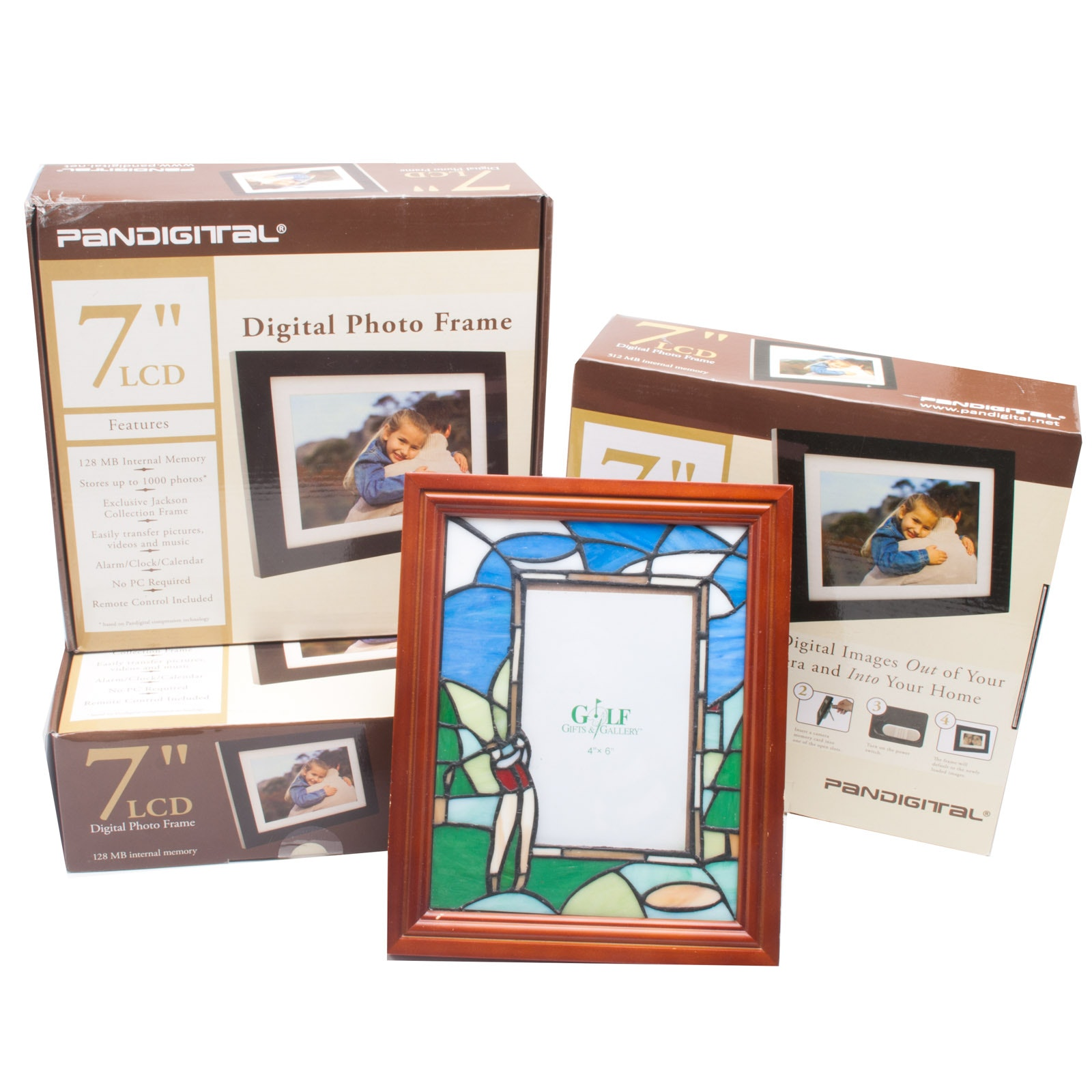 Three Digital Picture Frames and Slag Glass Golf Frame