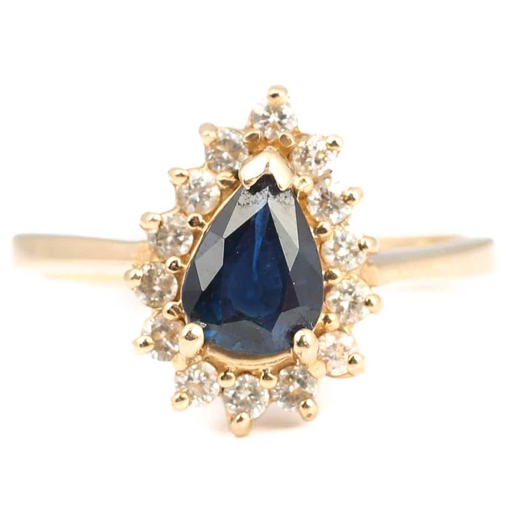 14K Yellow Gold, Diamond, and Sapphire Ring