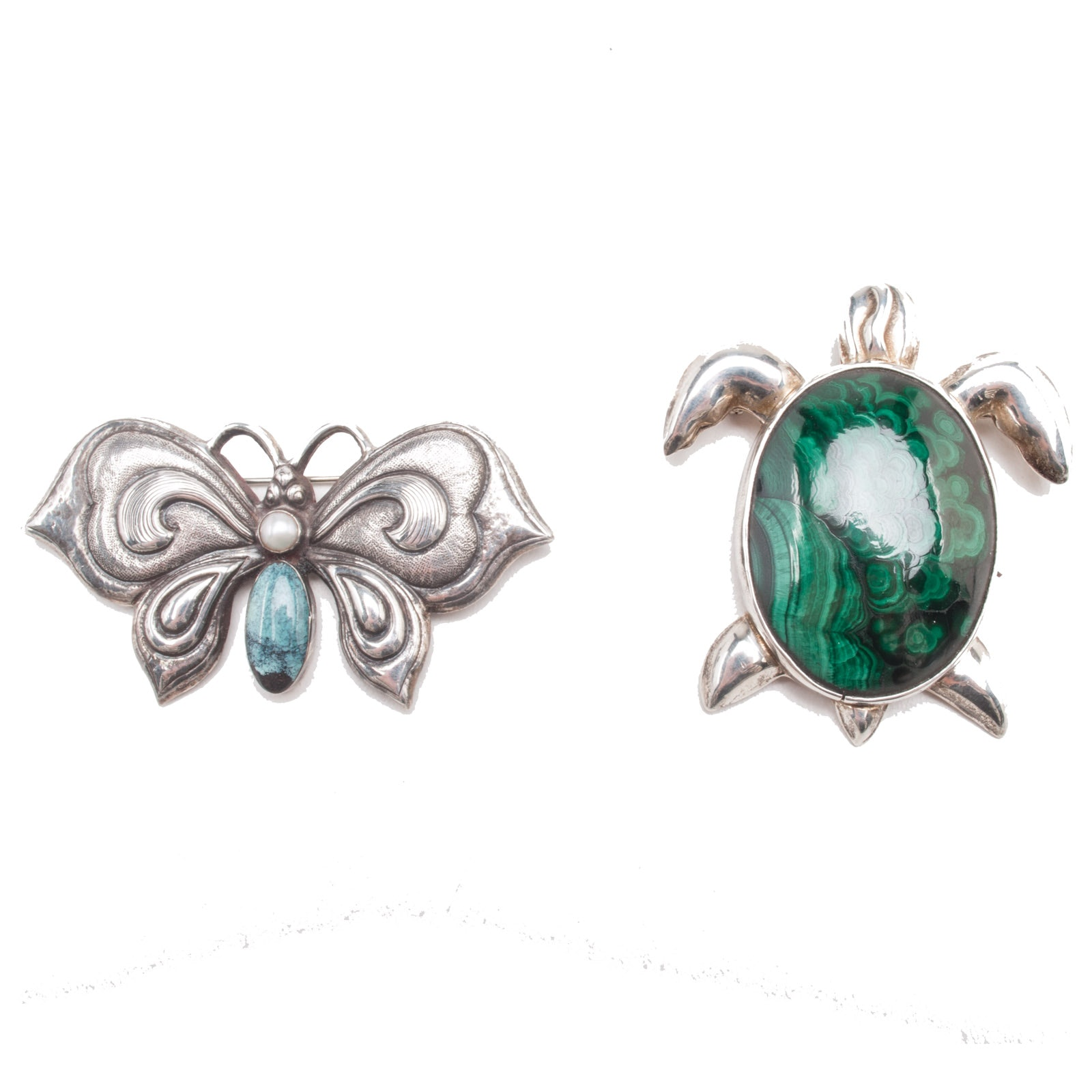 Figural Sterling Silver Brooches