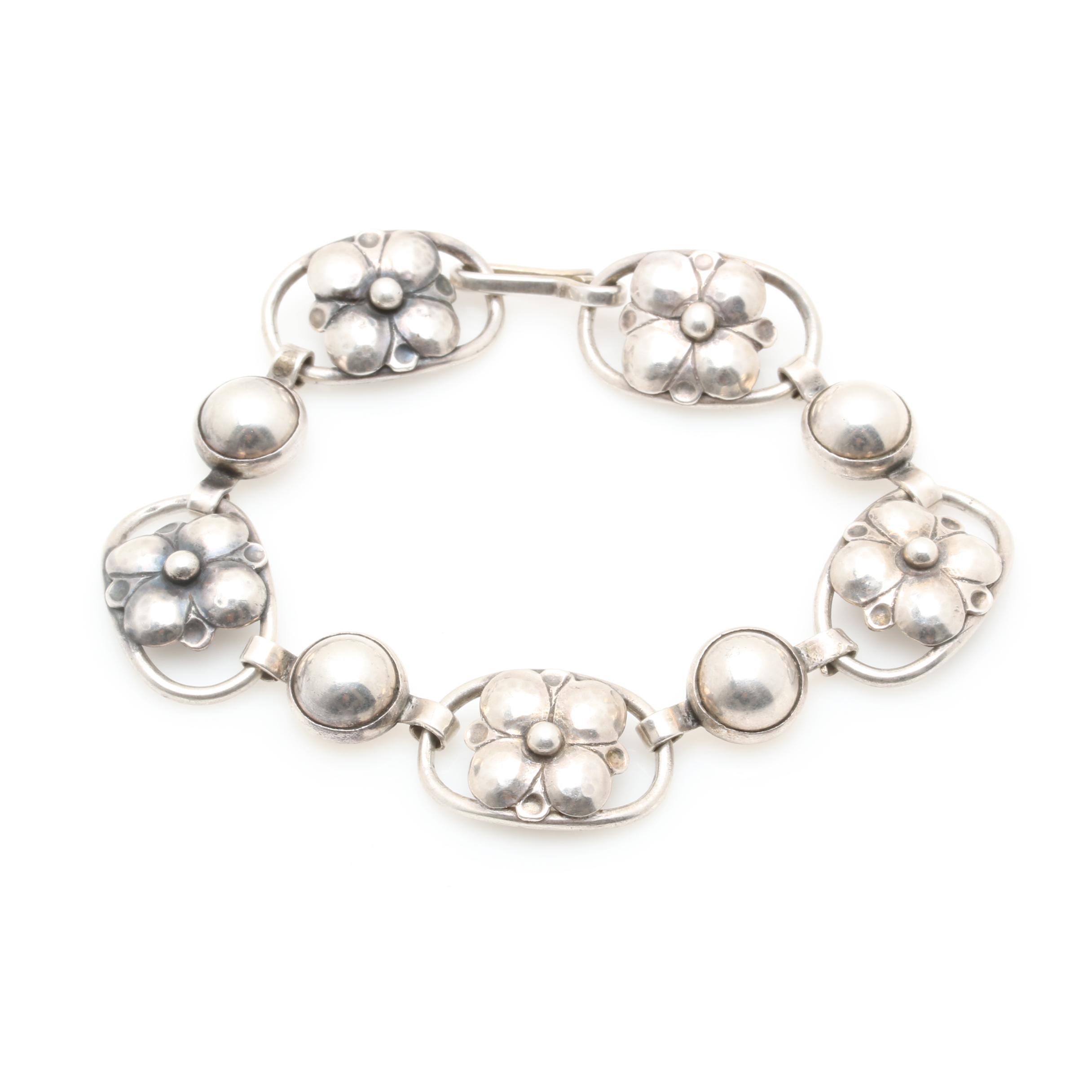 Georg Jensen Sterling Silver Floral Link Bracelet