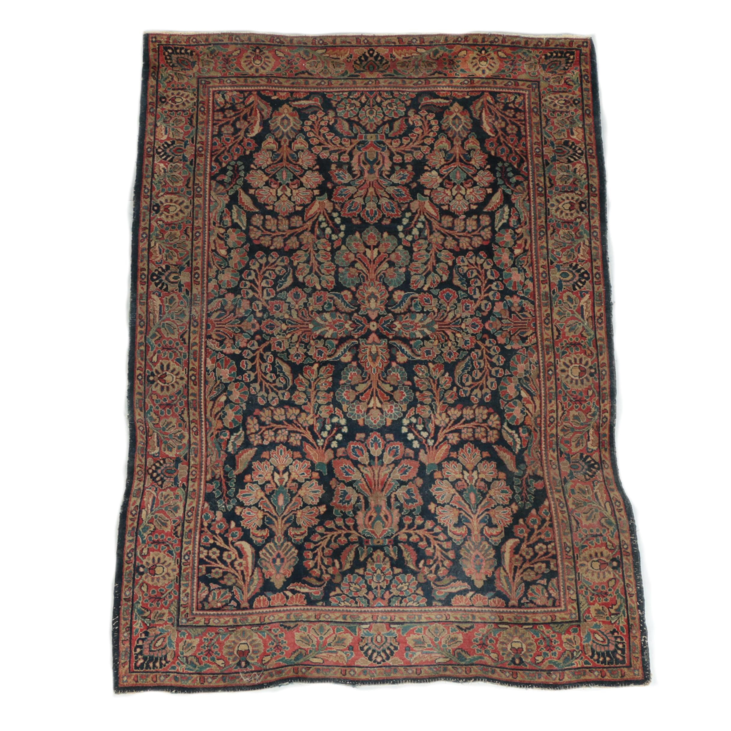 Vintage to Semi-Antique Hand-Knotted Persian Sarouk Wool Area Rug