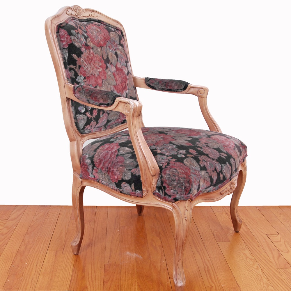 French Style Carved and Upholstered Armchair