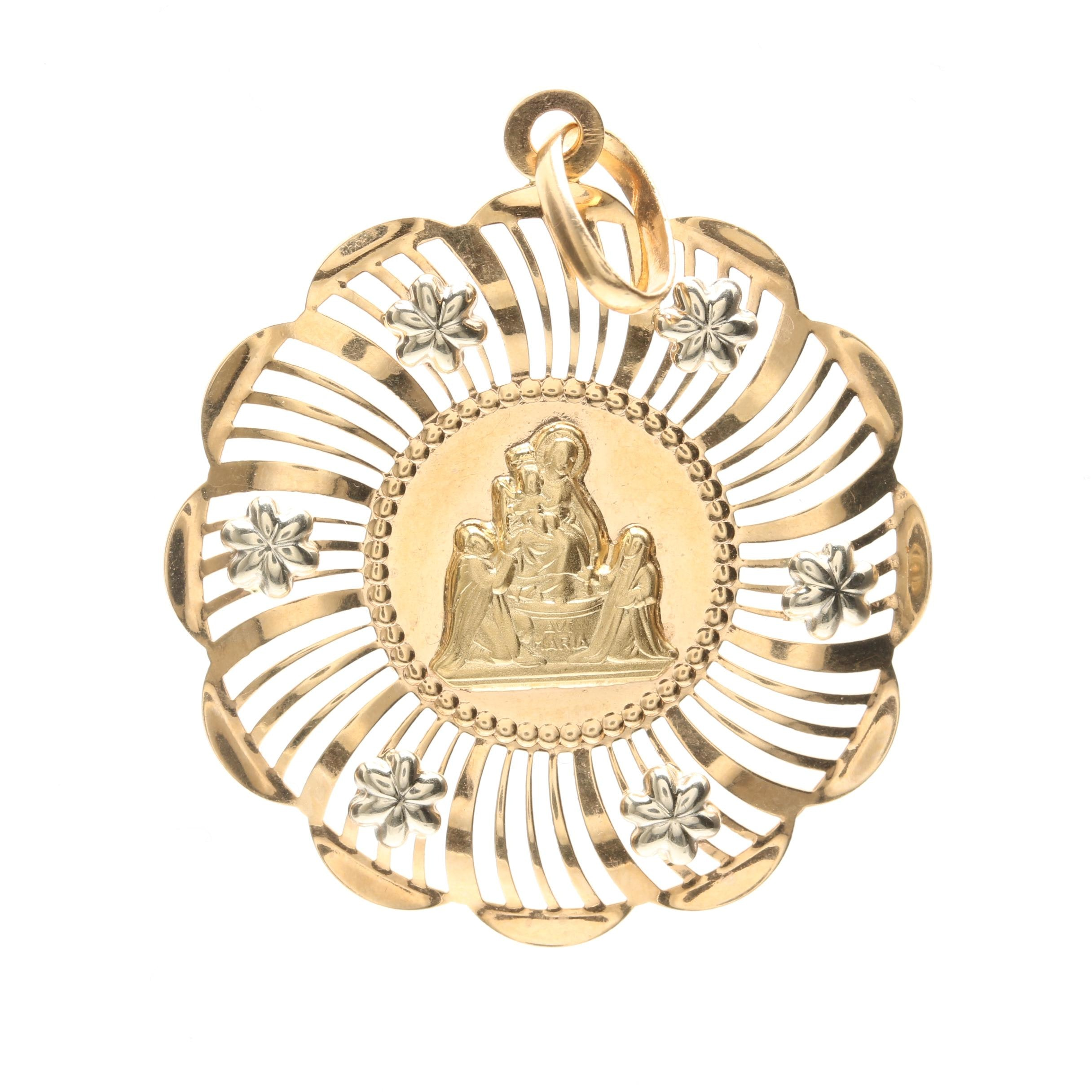 """18K Yellow Gold Mary and Christ Child """"Ave Maria"""" Pendant"""