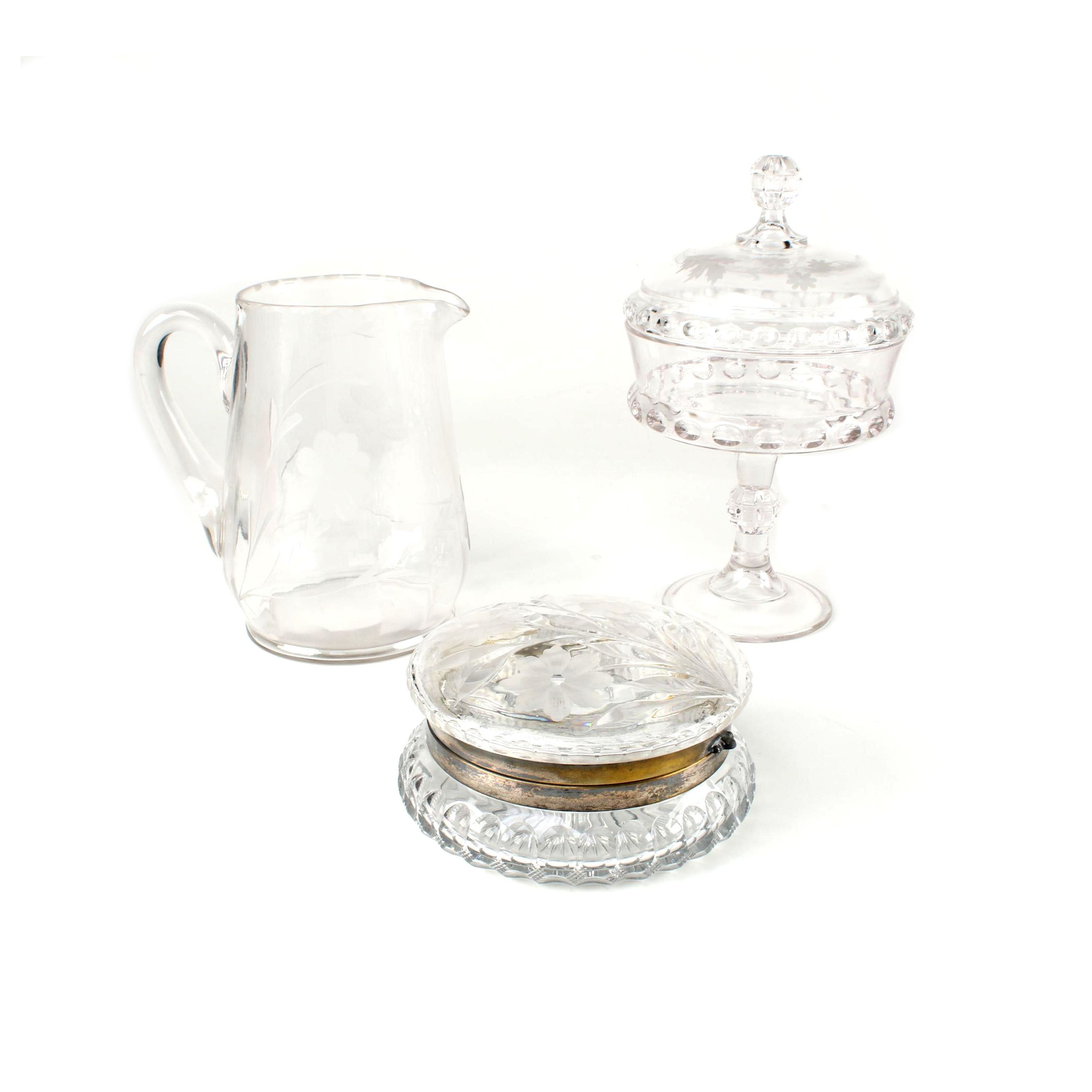 Glass Serveware with Crystal and Silver Plate Candy Dish