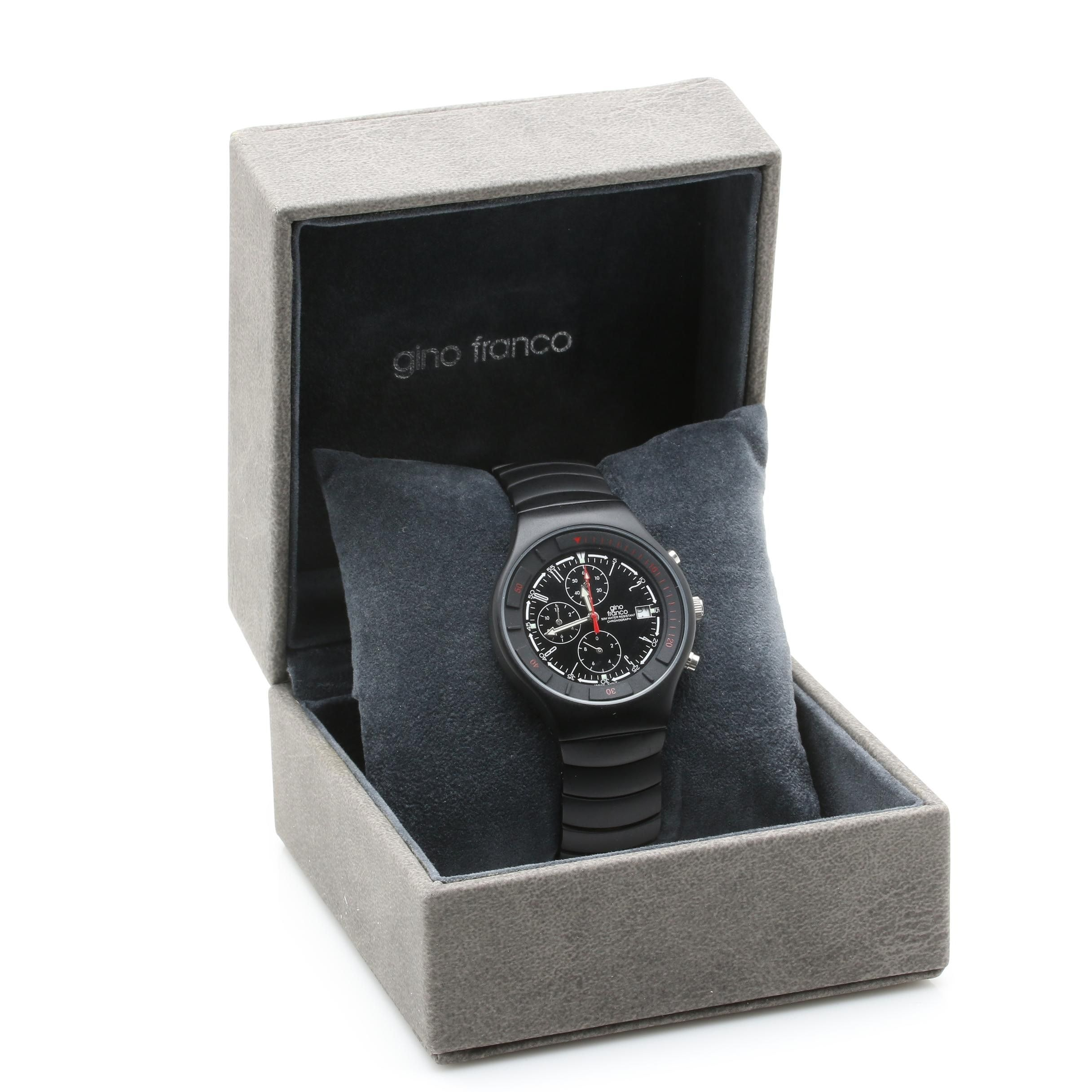 Gino Franco Black PVD-Coated Stainless Steel Black Dial Watch