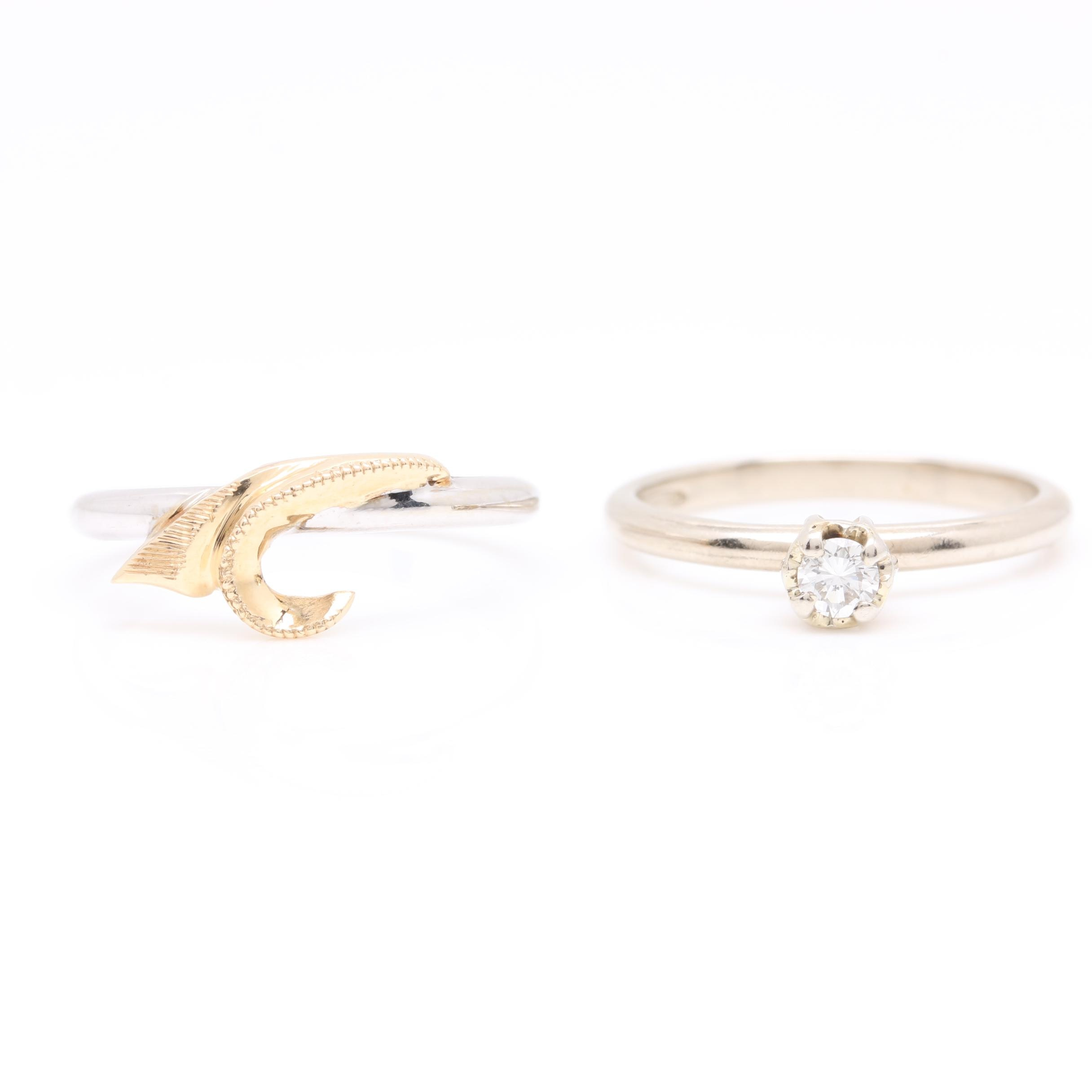 14K White Gold Diamond Bridal Ring Set with Yellow Gold Accents