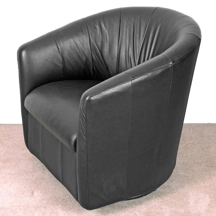 Prime Faux Black Leather Swivel Tub Chair Squirreltailoven Fun Painted Chair Ideas Images Squirreltailovenorg