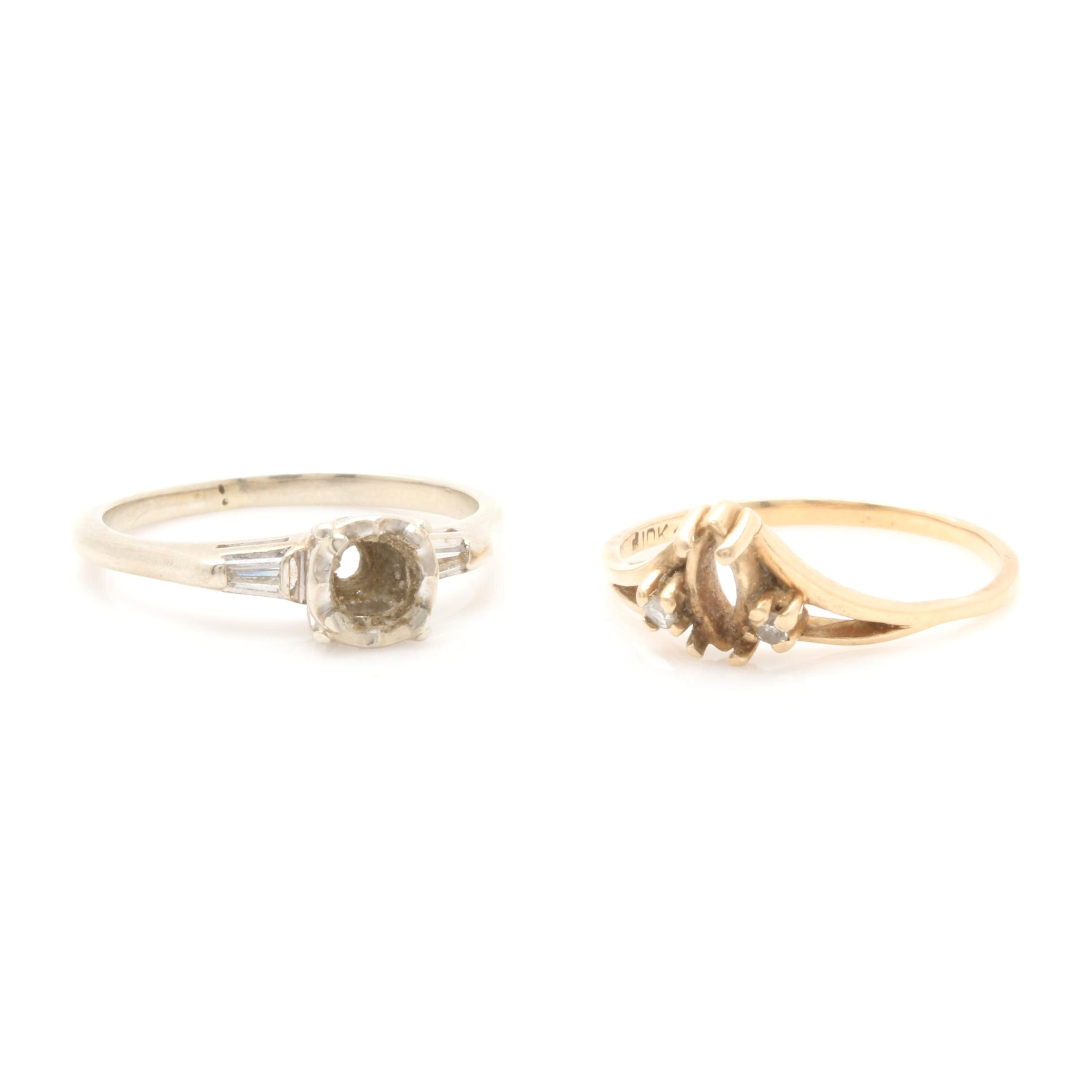 14K White Gold and 10K Yellow Gold Ring Semi Mounts with Side Diamonds