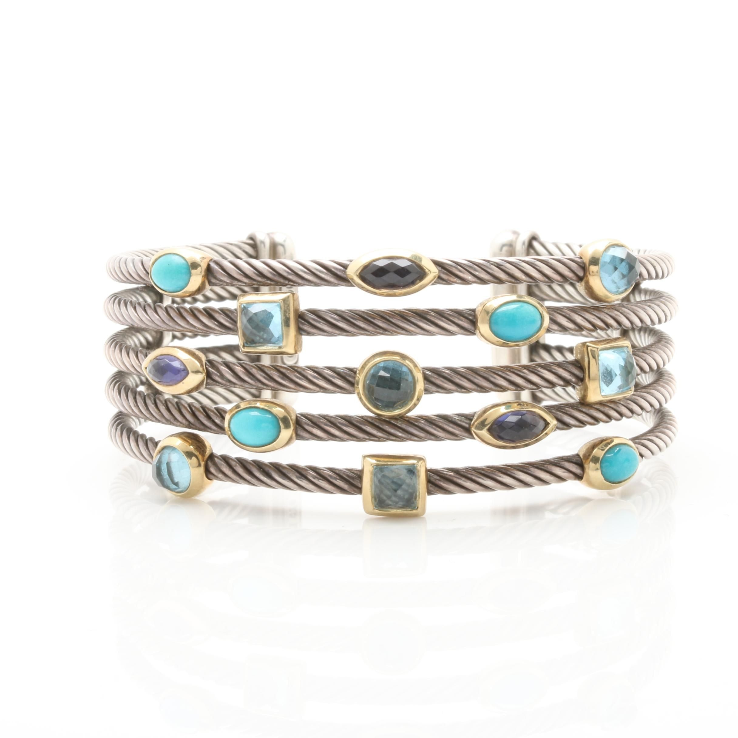 David Yurman Sterling Silver Topaz and Turquoise Bracelet with 18K Yellow Gold