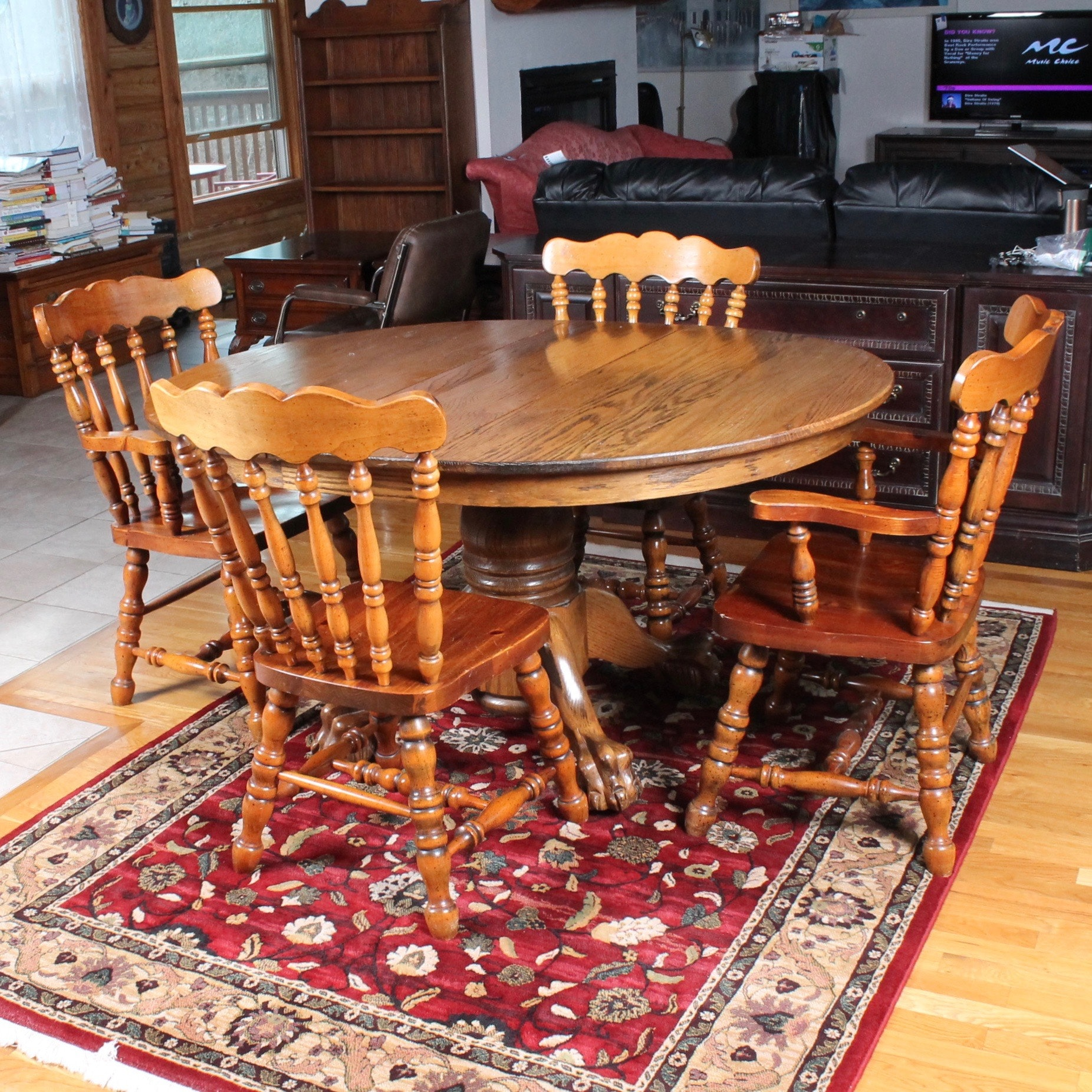 Solid Oak Dining Table and Chair Set