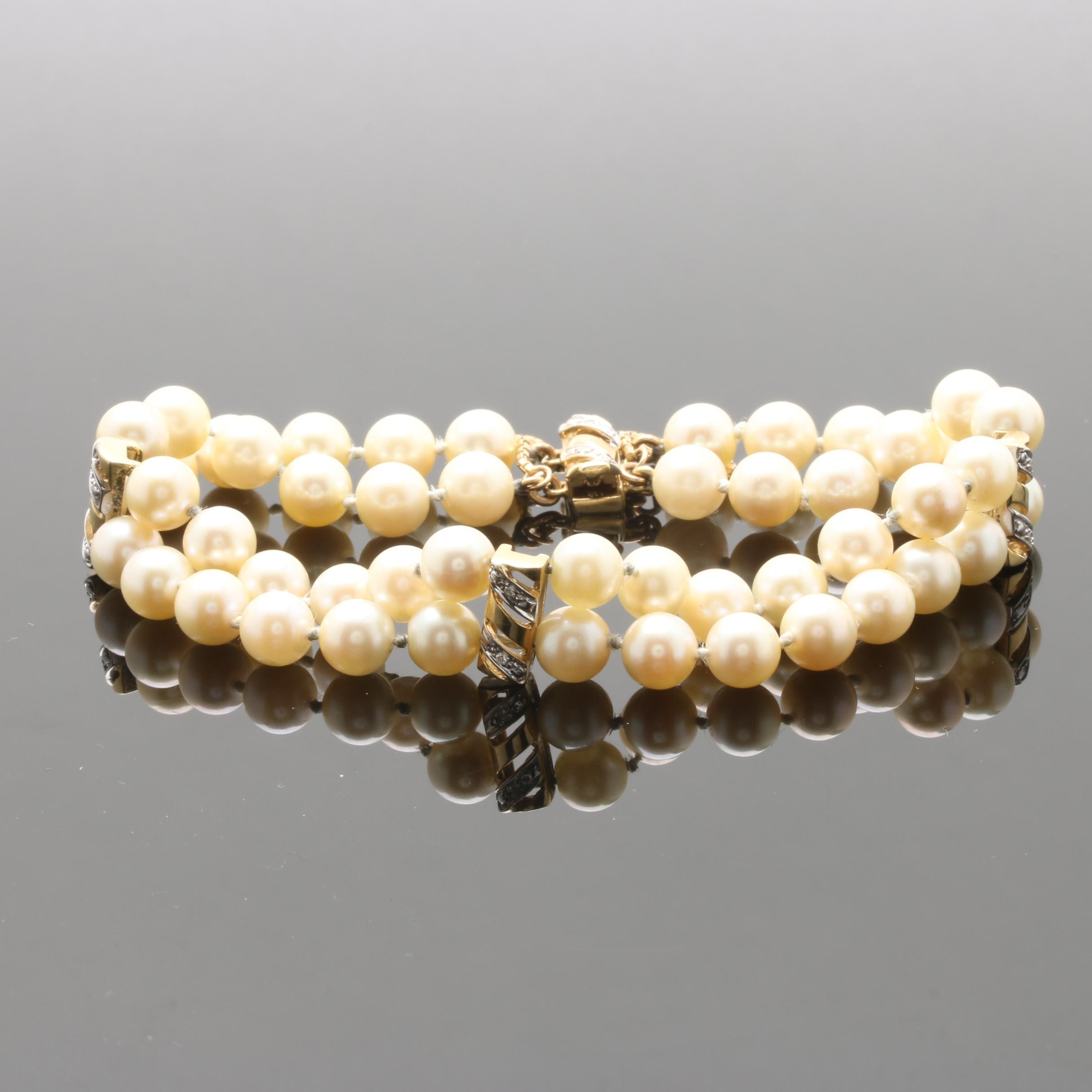 14K Yellow Gold Cultured Pearl and Diamond Bracelet with 18K Yellow Gold Accent