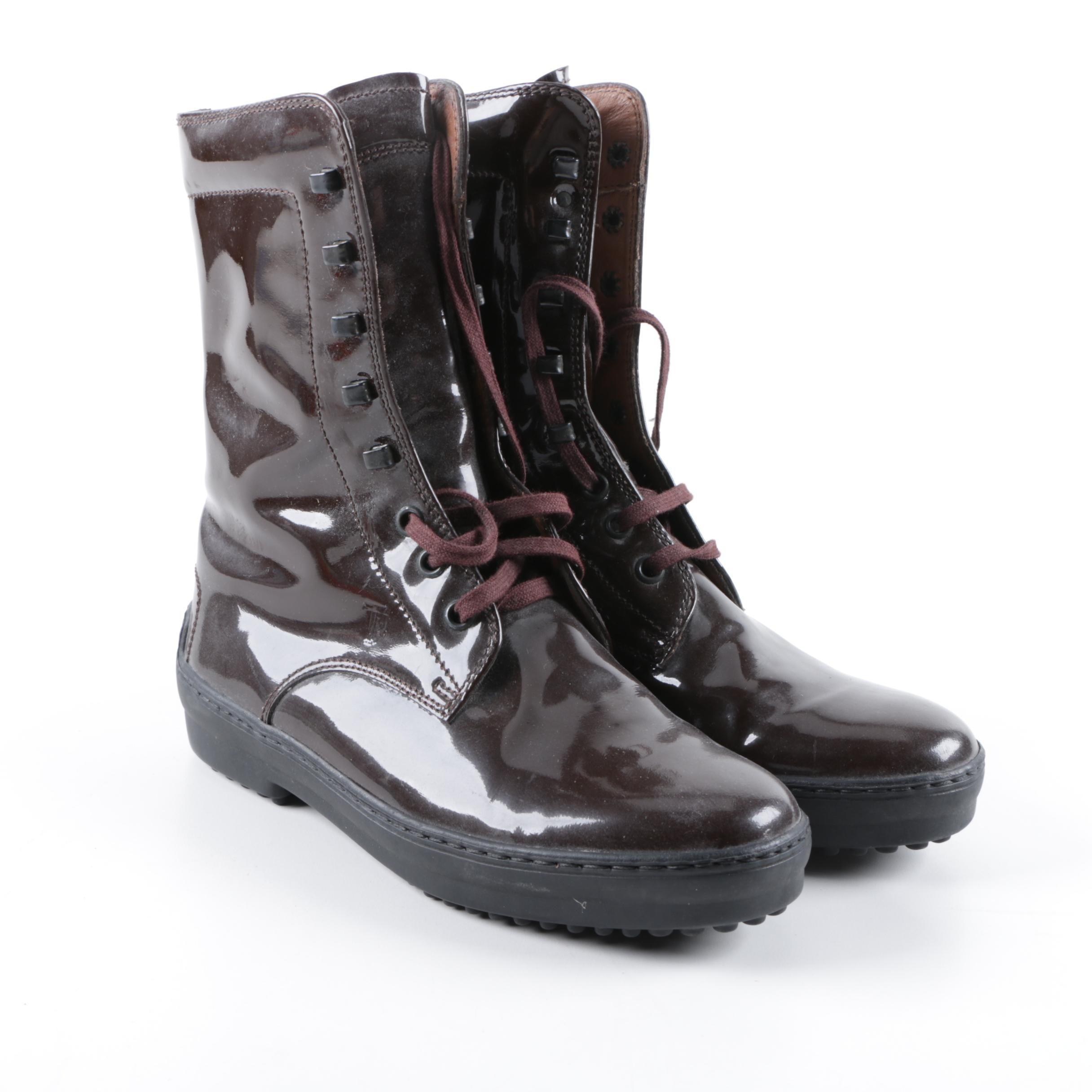 Women's Tod's Brown Patent Leather Lace-Up Boots