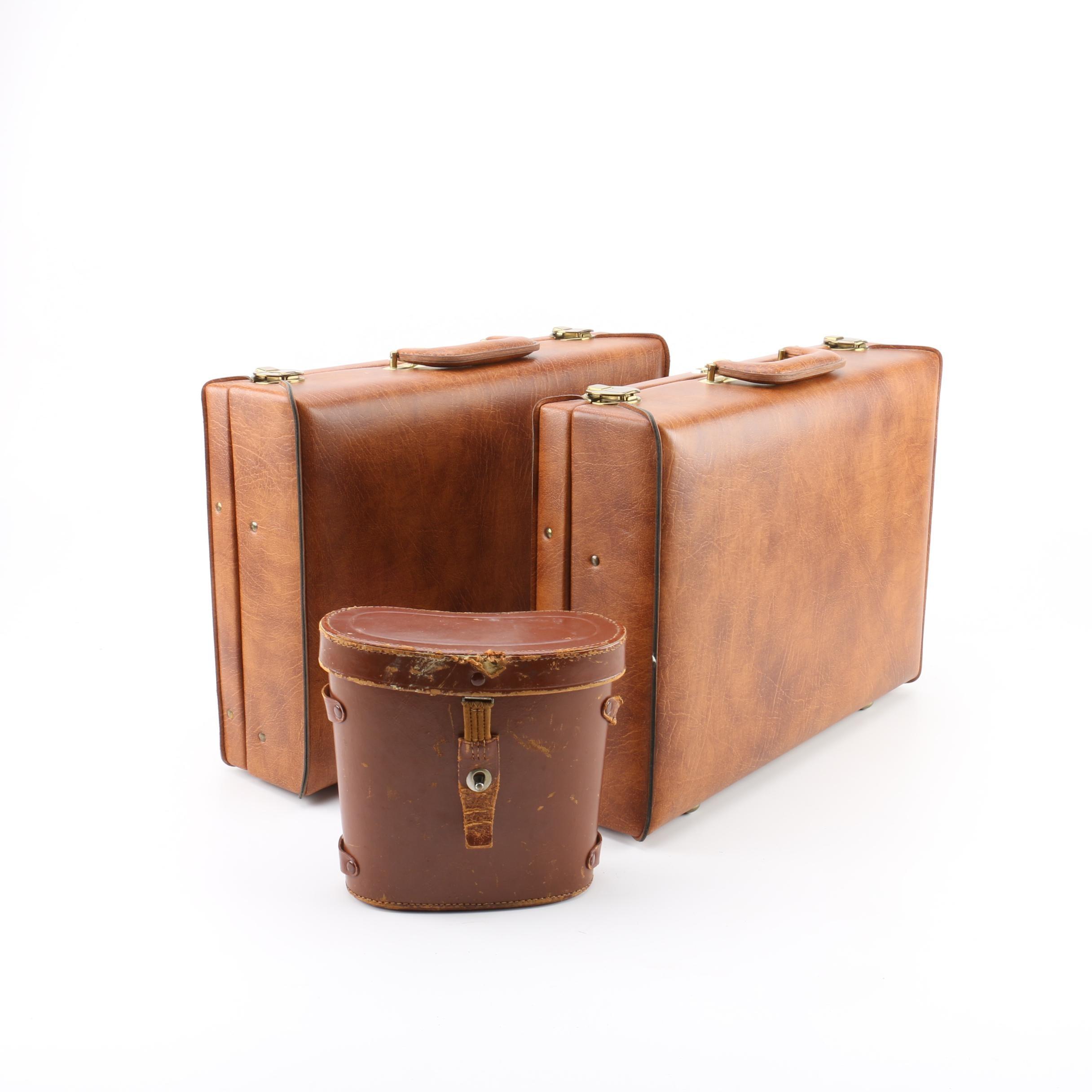 Vintage Airway Presto Lock Briefcases and Prismex 7X50 Binoculars