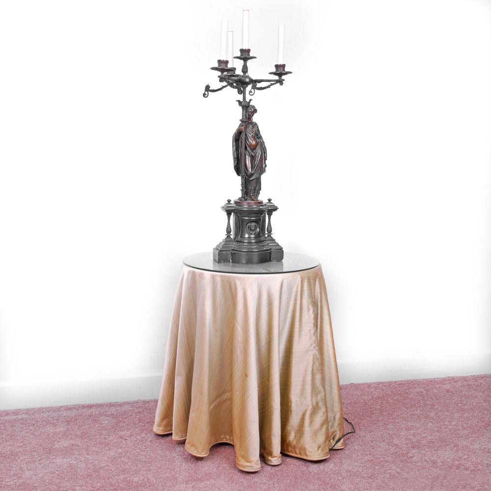 Classical Revival Style Electrified Figural Candelabrum and Table