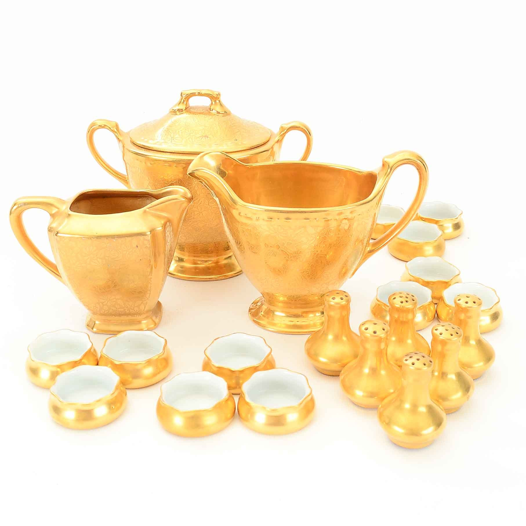 Gilt Tableware including Wheeling