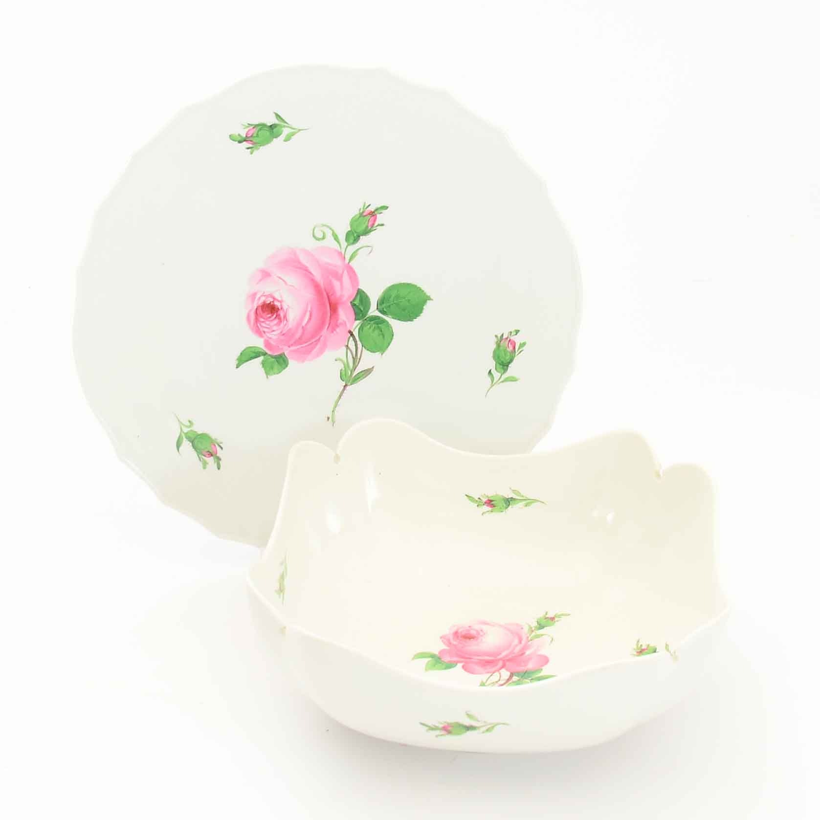 "Meissen ""Pink Rose"" Bowl and Platter"