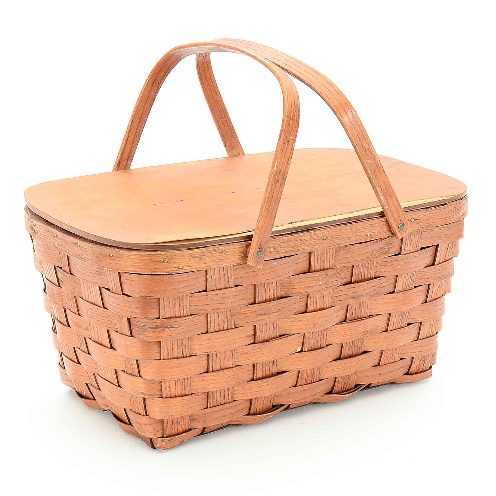 Vintage 1930s American Wicker Picnic Basket
