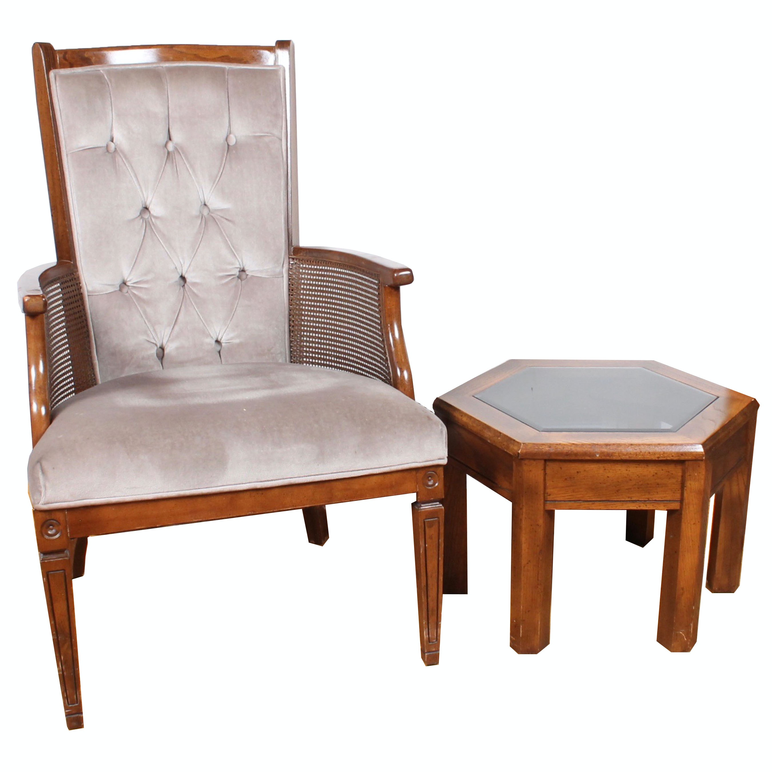 Vintage Accent Table and Chair Pairing
