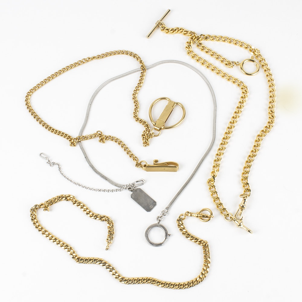 Sterling Silver and Gold Toned Metal Watch Chains