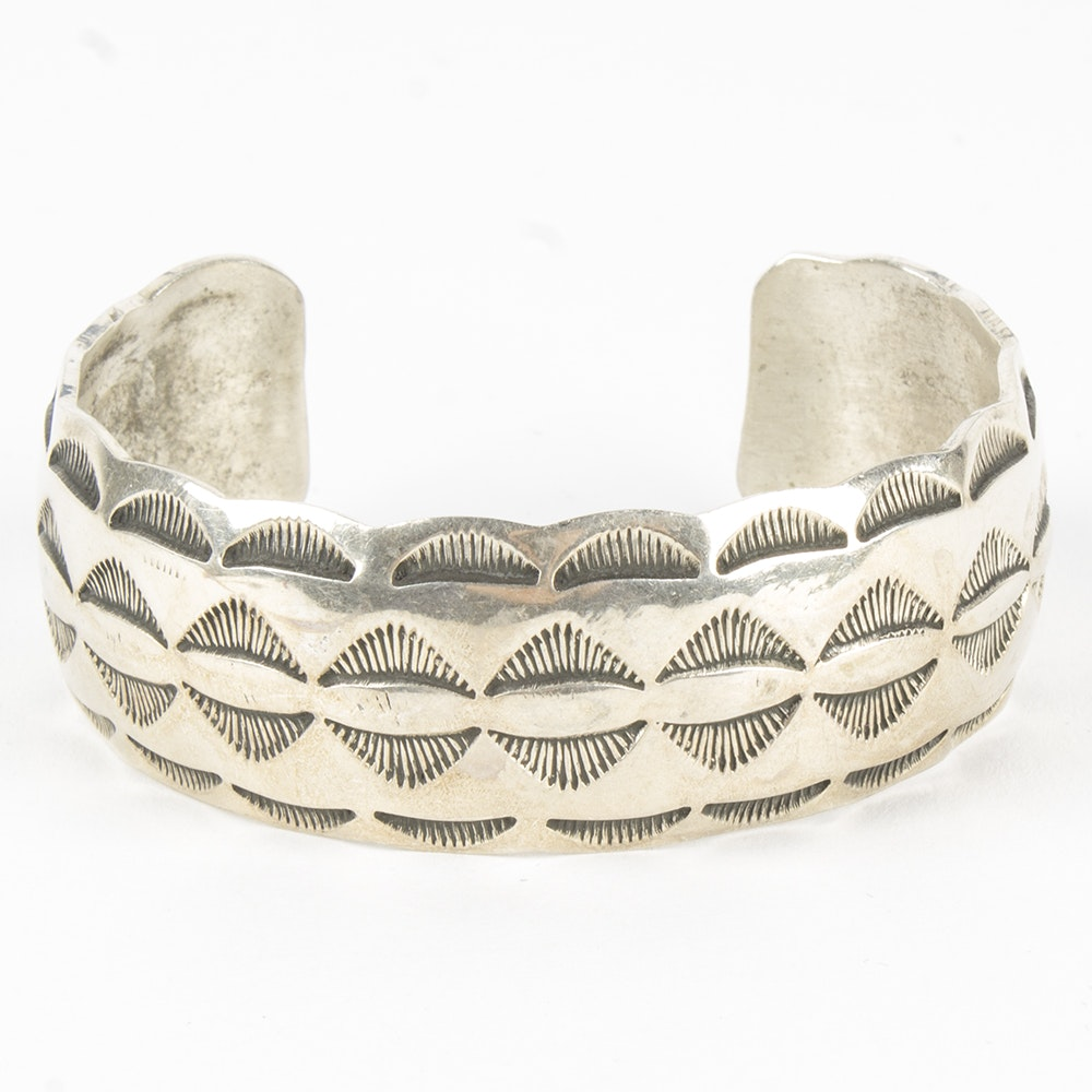 Tracy Sterling Silver Stamped Cuff Bangle