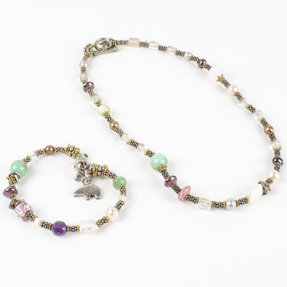 Sterling Silver Gemstone Necklace and Bracelet