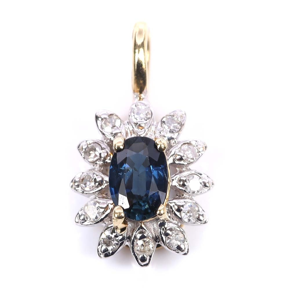 14K Yellow Gold Sapphire and Diamond Pendent