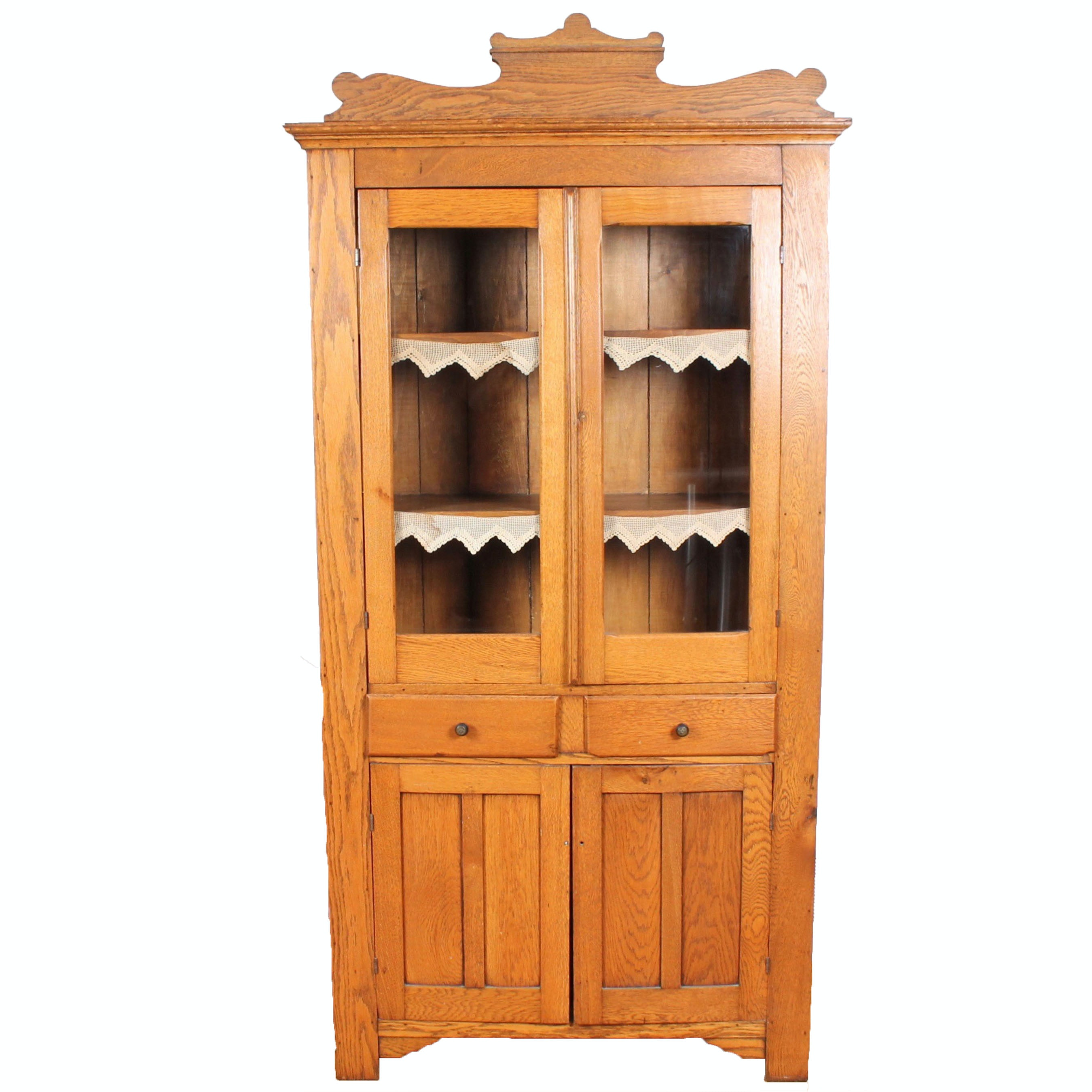 Antique Solid Wood Glass Front Display Cabinet ...