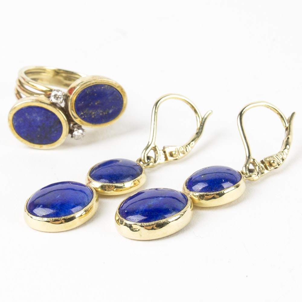 14K Yellow Gold Lapis Lazuli Earrings and Ring with Diamonds