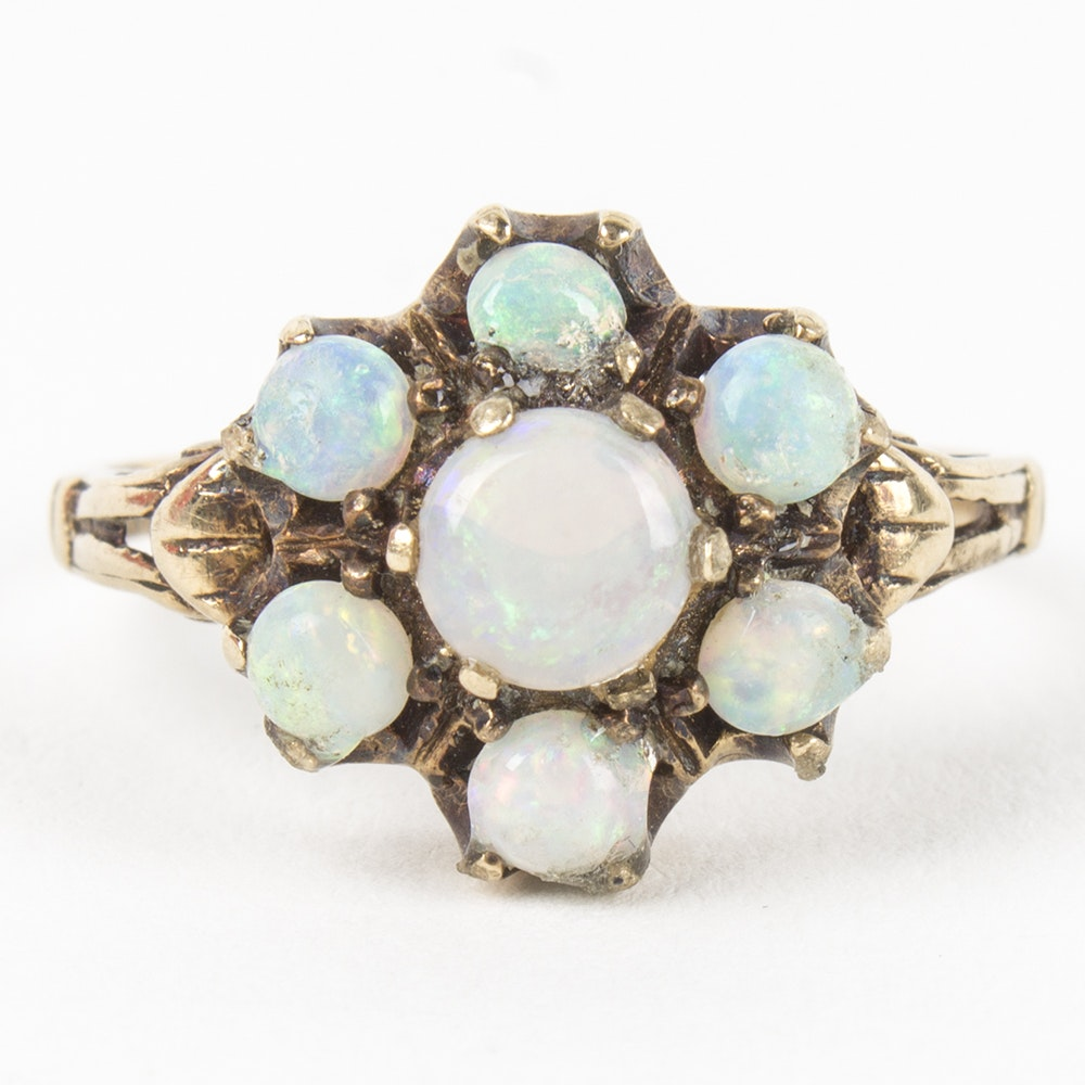 10K Yellow Gold Opal Cocktail Ring