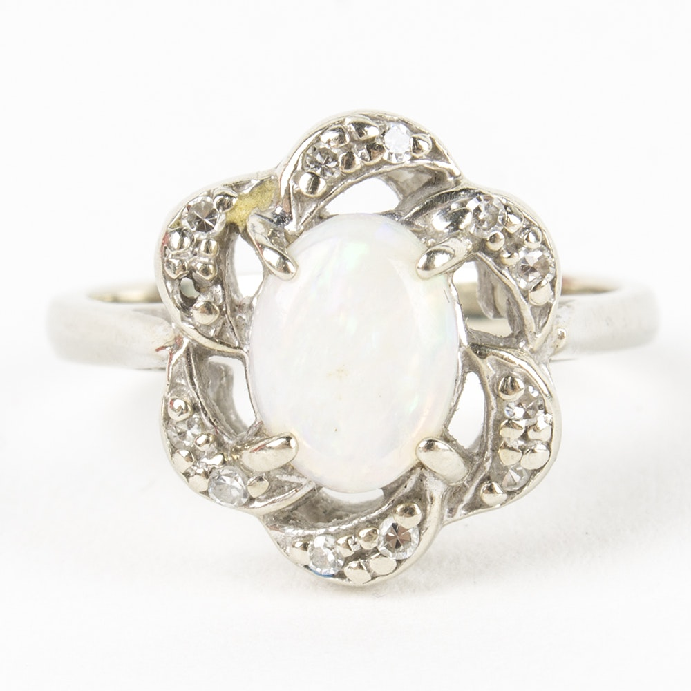 14K White Gold Opal and Diamond Ring