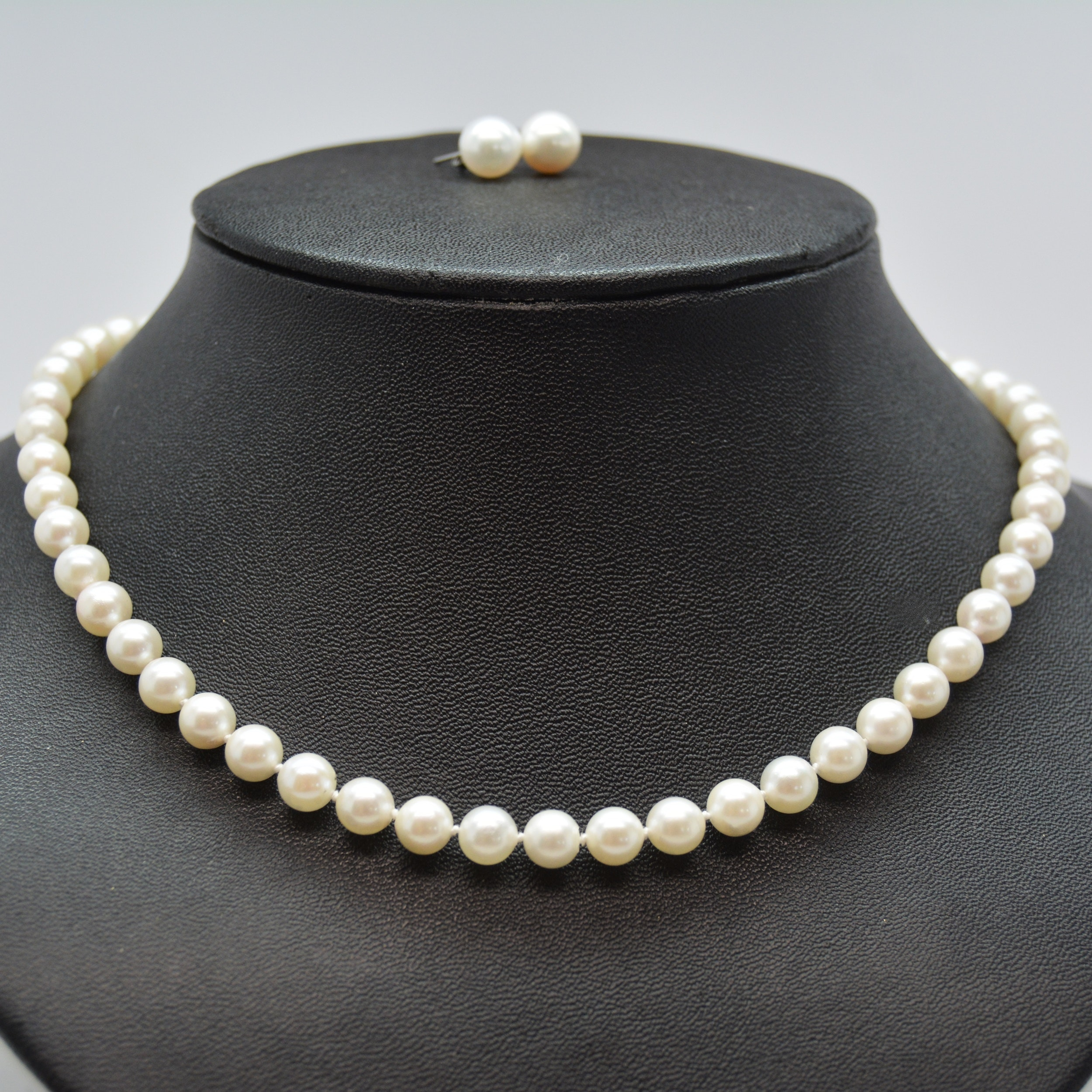 14K White Gold Cultured Pearl Necklace and Pierced Earrings
