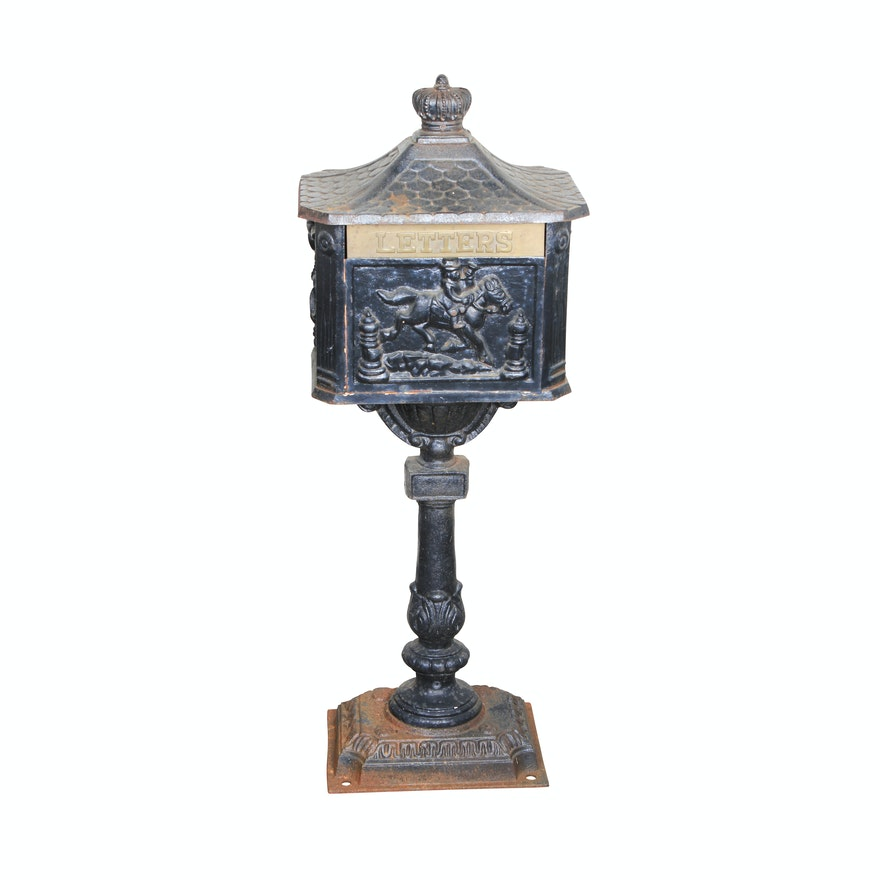 Victorian Style Cast Iron Pedestal Mailbox Ebth