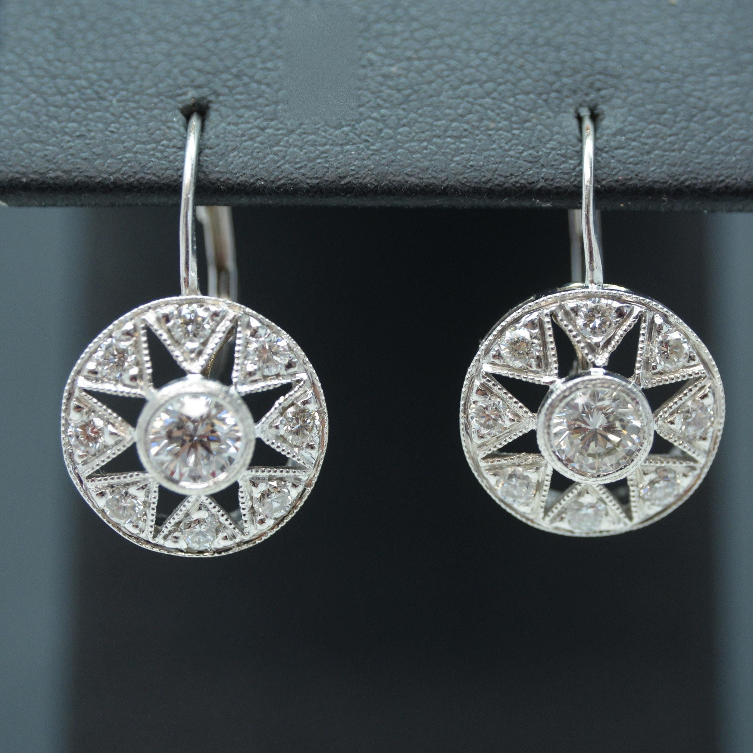 18K White Gold 1.18 CTW Diamond Earrings