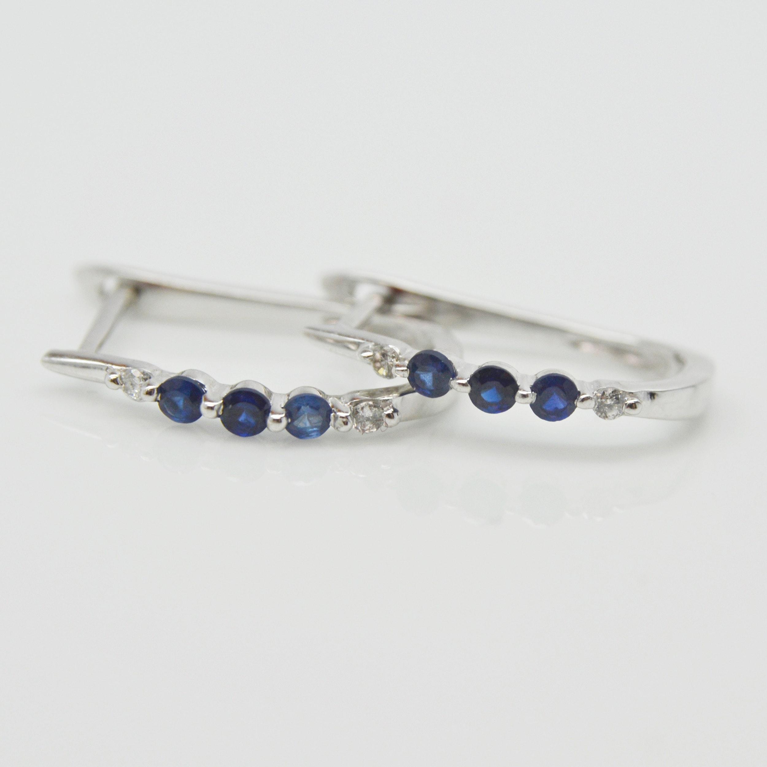 14K White Gold Sapphire and Diamond Hoop Earrings