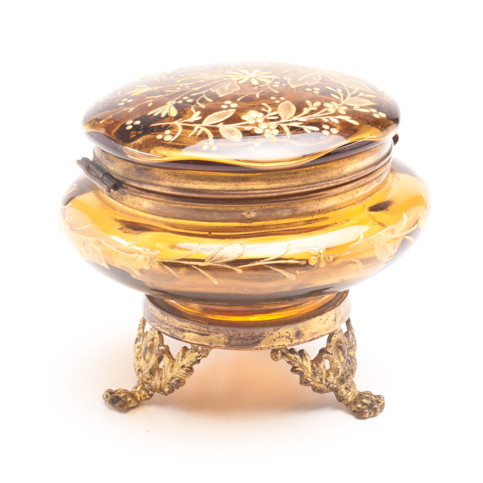 Hand Painted Glass Trinket Box With Lid