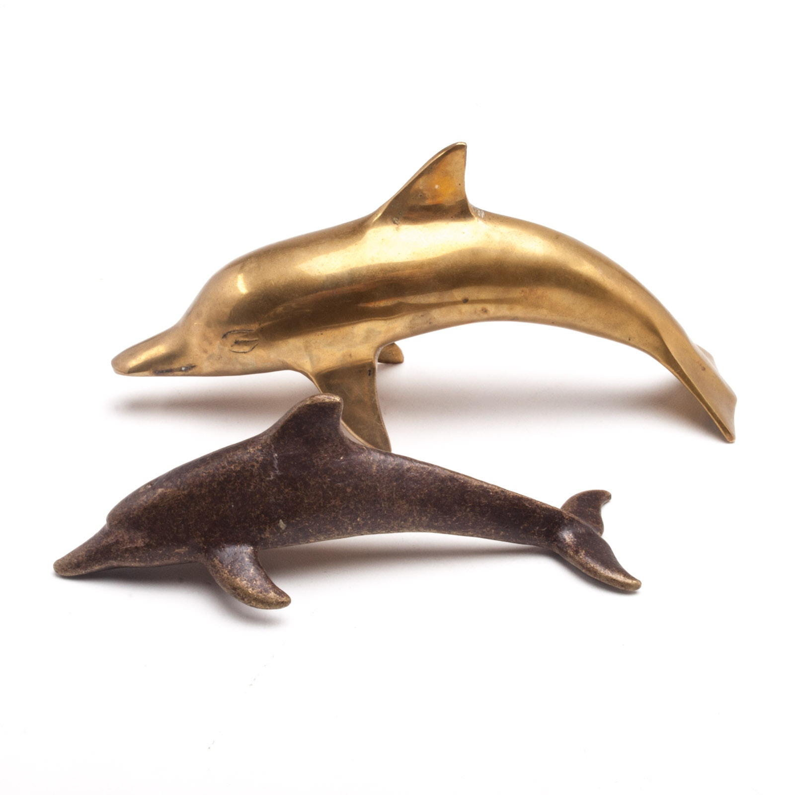 Decorative Gold Tone Dolphin Figurines