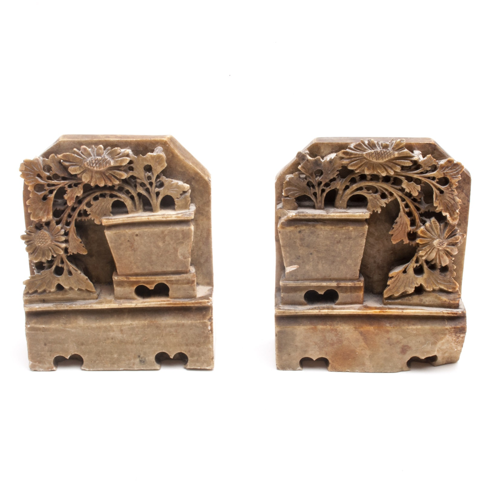 Pair of Chinese Carved Floral Motif Soapstone Bookends